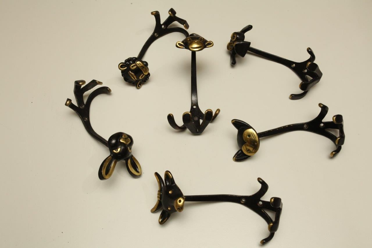 viennese coat hooks by walter bosse for hertha baller 1950s set of 6 for sale at pamono. Black Bedroom Furniture Sets. Home Design Ideas