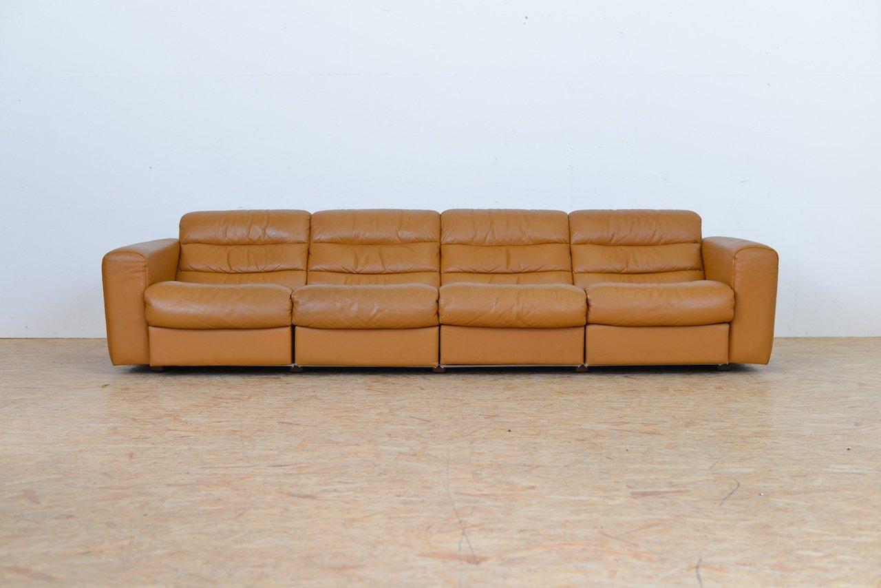 vintage vier sitzer ledersofa mit relax funktion von de sede bei pamono kaufen. Black Bedroom Furniture Sets. Home Design Ideas