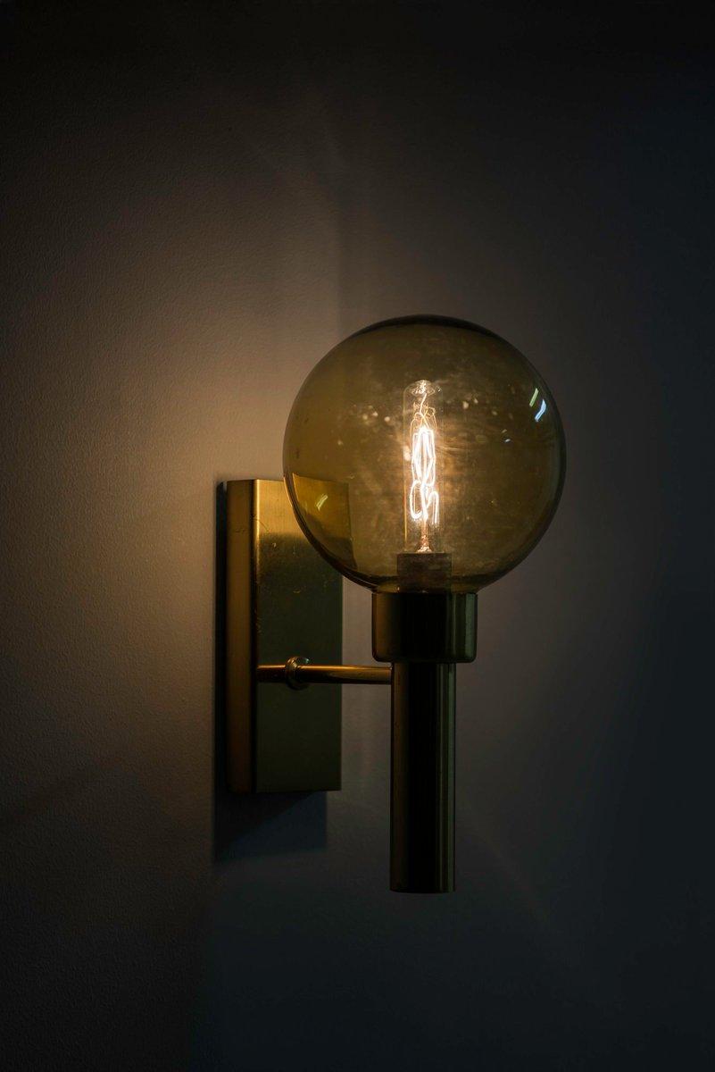 Lampada da parete in ottone e vetro svezia anni 39 50 in - Lampada da parete design ...
