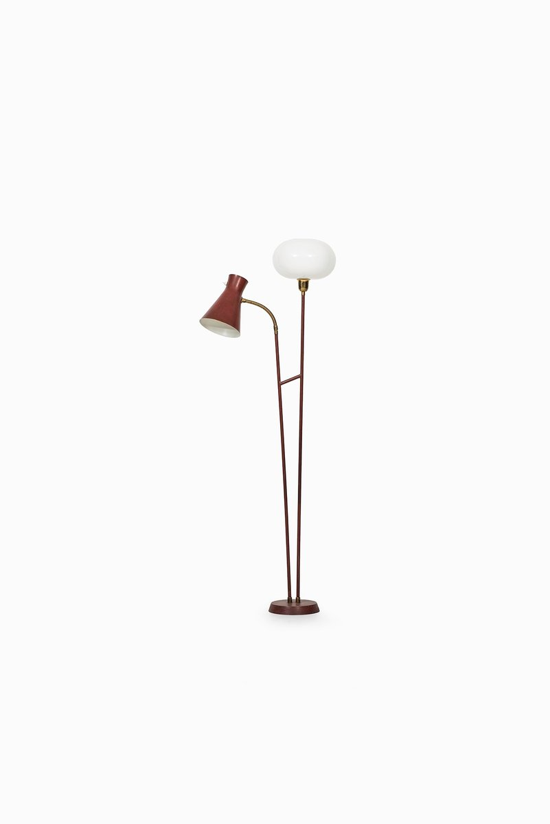 Swedish Red-Lacquered Metal & Glass Floor Lamp, 1950s for sale at Pamono
