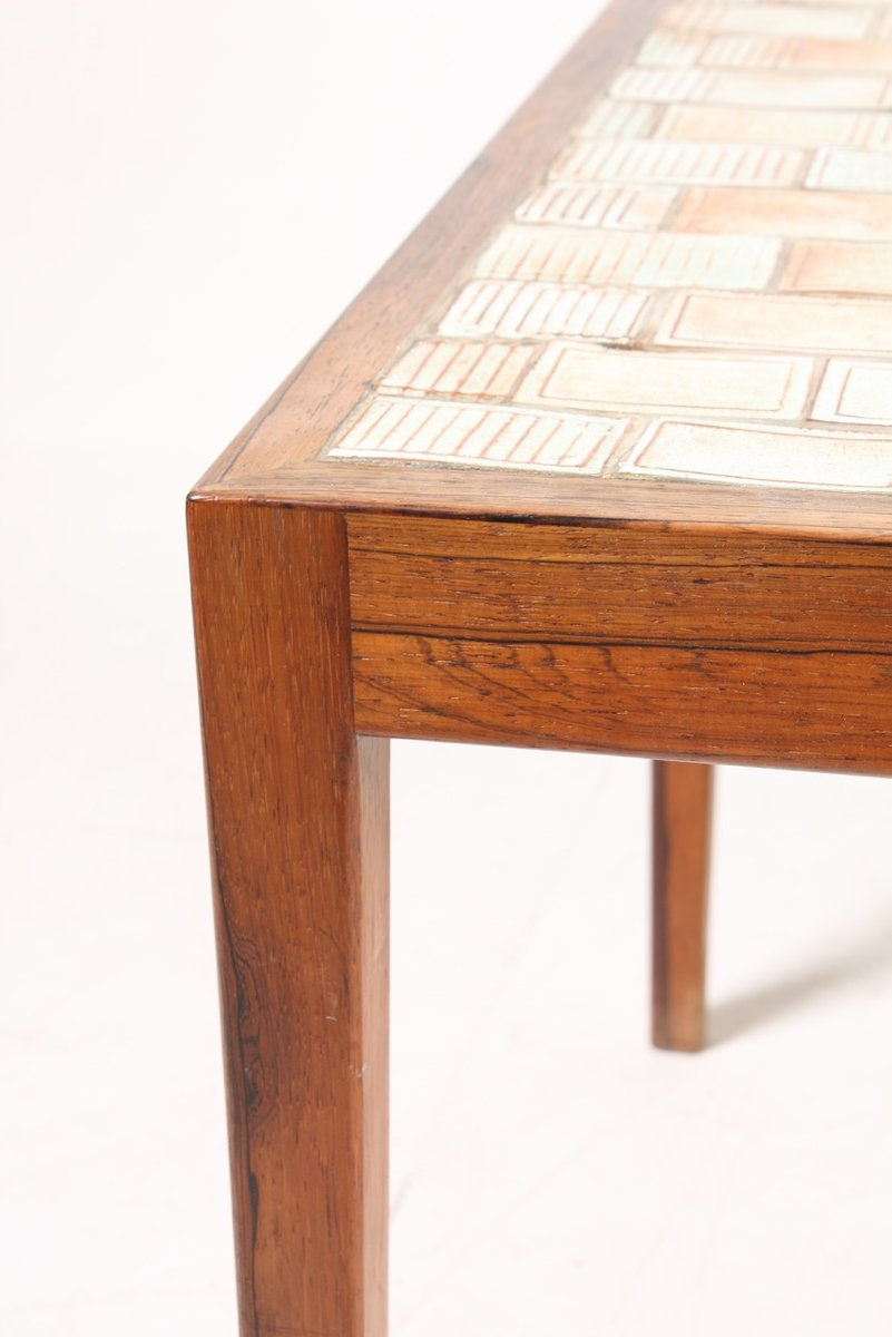 Mid Century Danish Rosewood Coffee Table With Art Tiles, 1960s