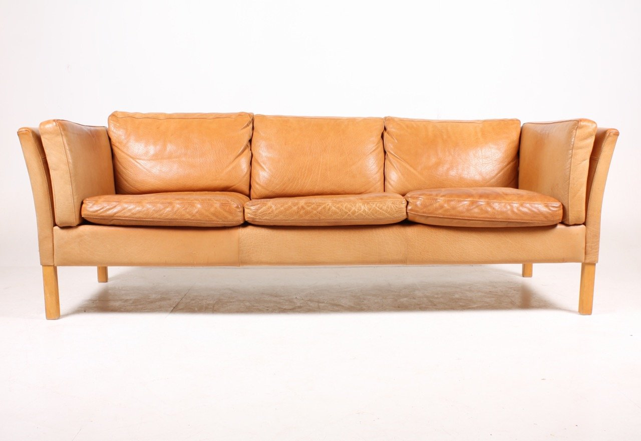Vintage danish three seater tan leather sofa 1980s for for Tan couches for sale