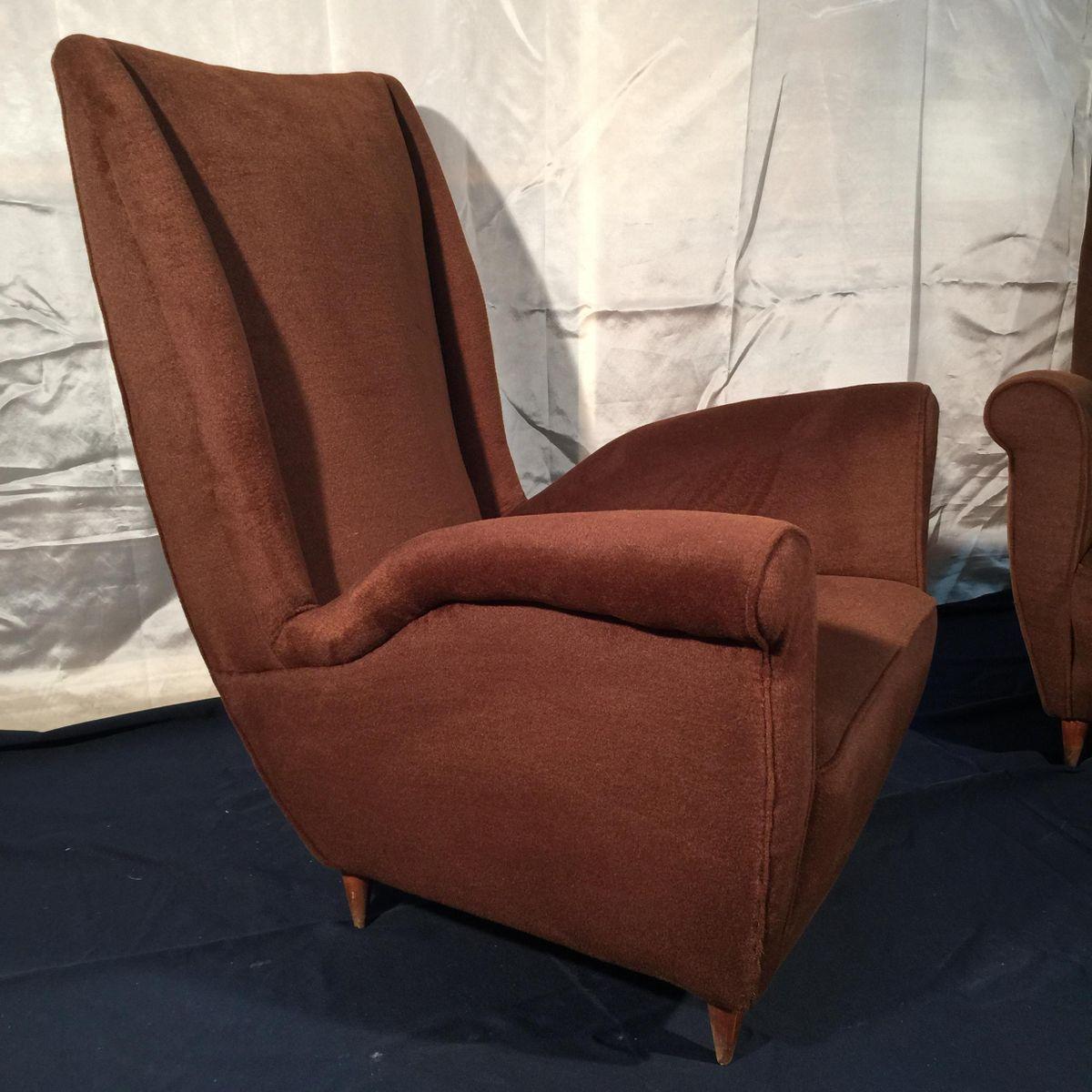 italienische vintage sessel von gio ponti 1950er 2er set bei pamono kaufen. Black Bedroom Furniture Sets. Home Design Ideas