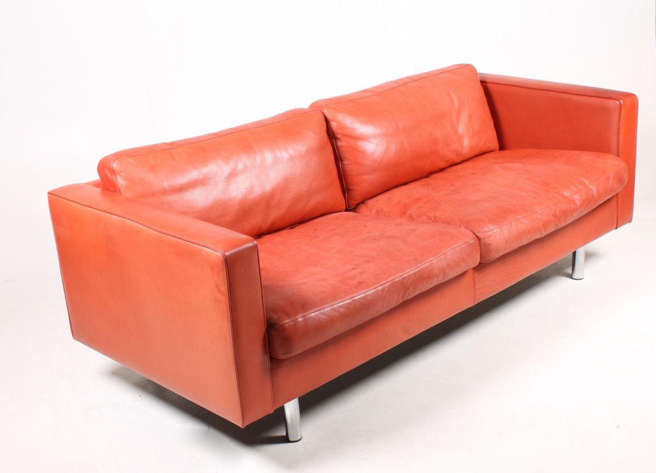 Canap rouge en cuir de illumsbolighus 1990s en vente sur - Canape en cuir rouge ...
