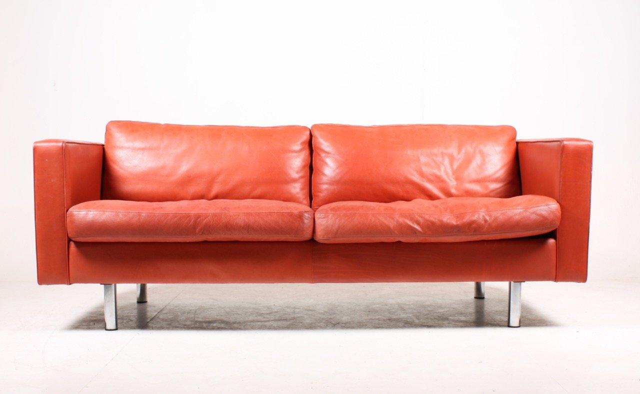 Canap rouge en cuir de illumsbolighus 1990s en vente sur pamono - Canape cuir buffle solde ...