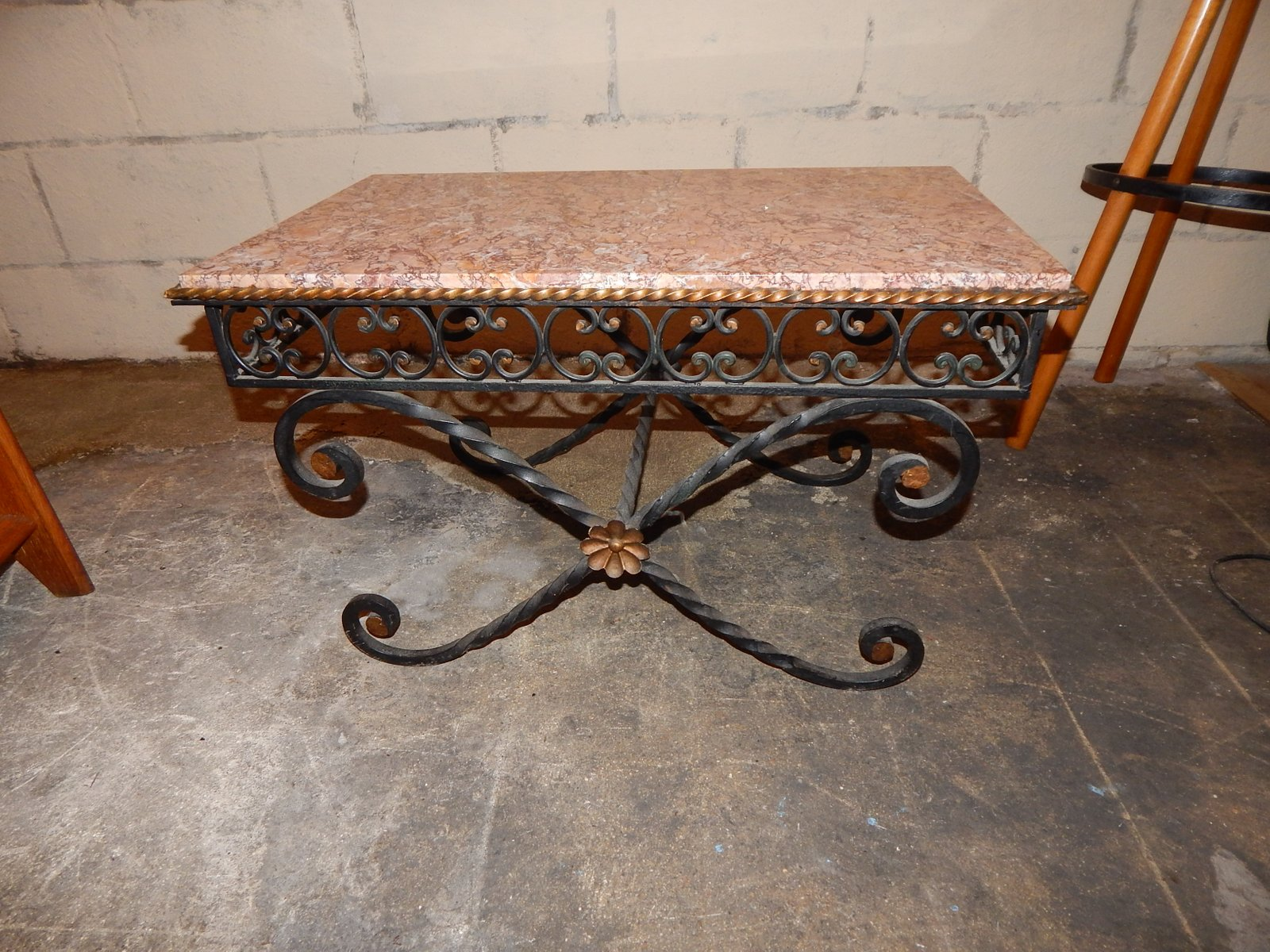 Vintage wrought iron marble coffee table 1930s for sale for Marble and wrought iron coffee table