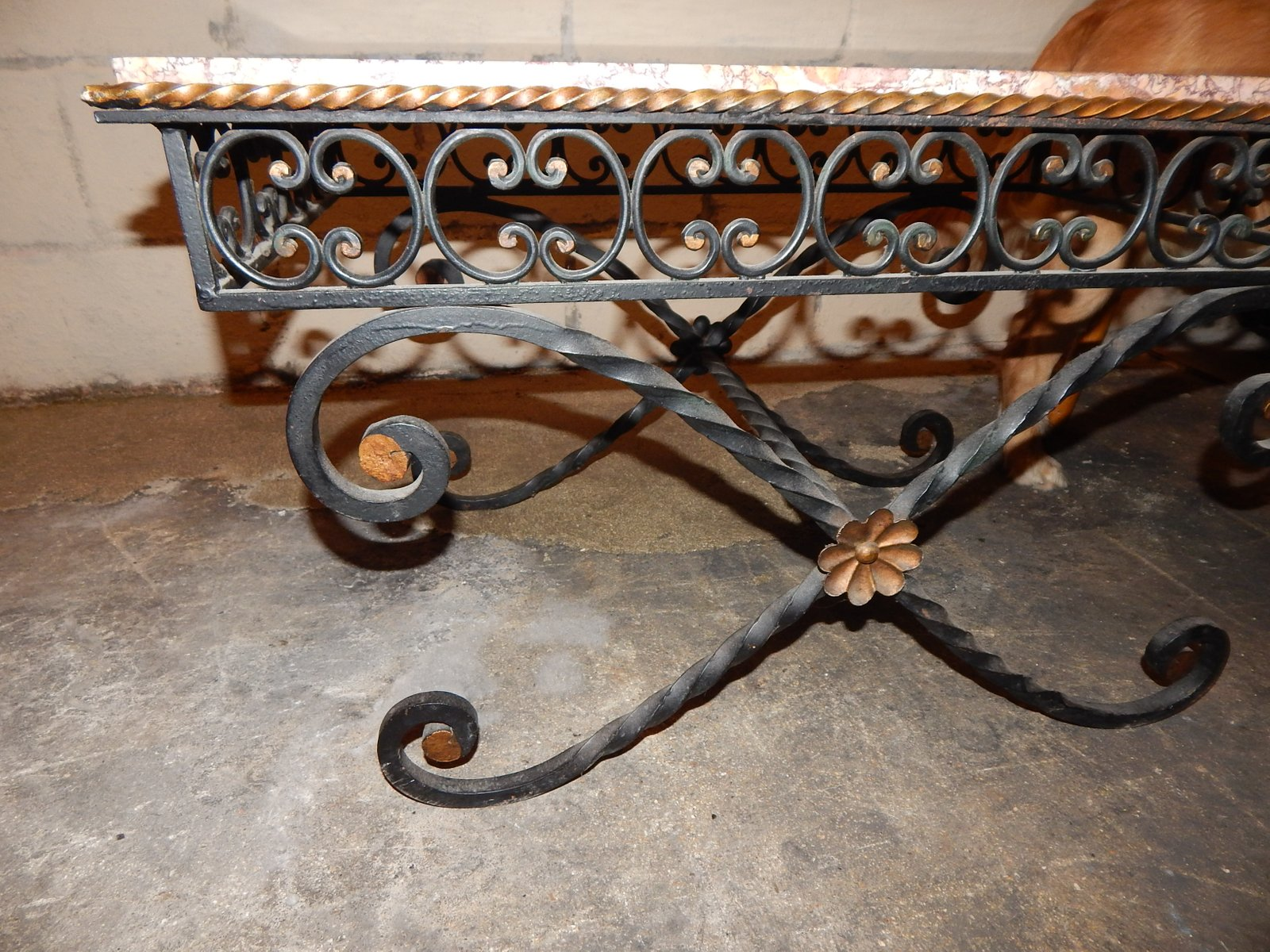 vintage wrought iron marble coffee table 1930s for sale at pamono