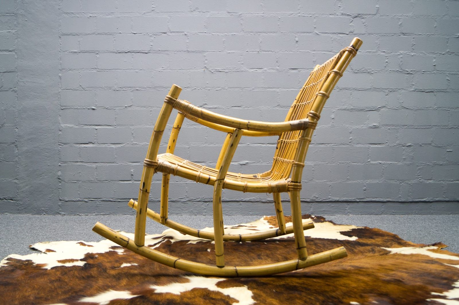 Vintage Bamboo Rocking Chair for sale at Pamono