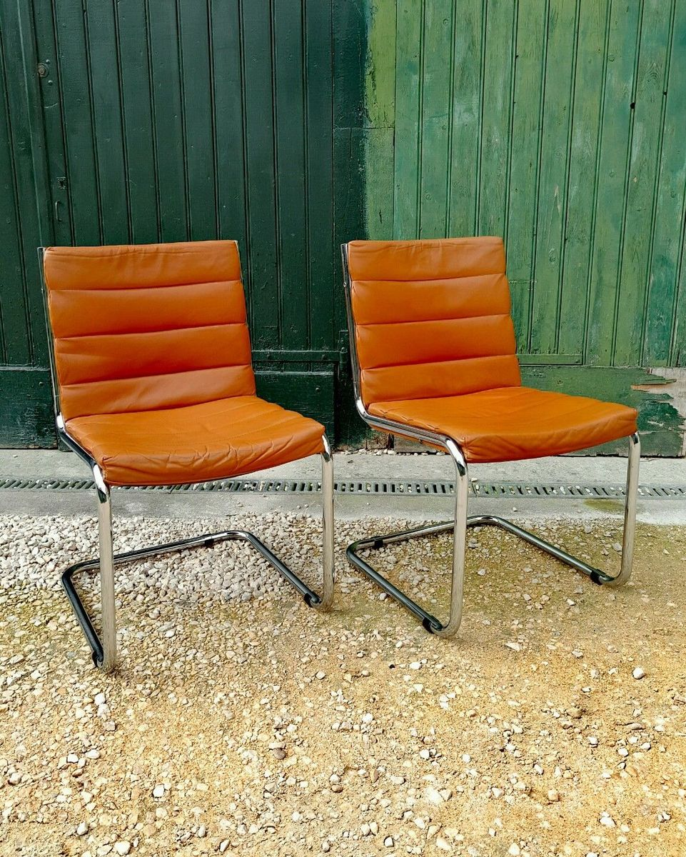 Tan leather side chairs 1970s set of 2 for sale at pamono for Side chairs for sale