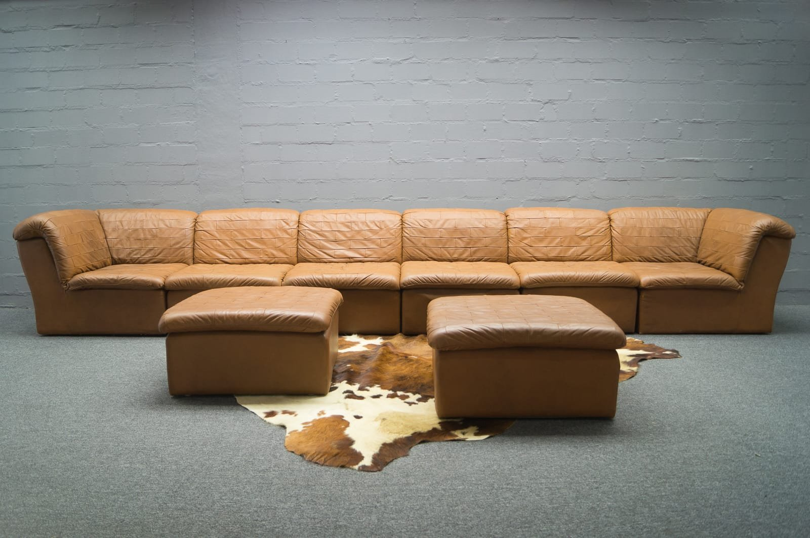 Vintage leather patchwork sofa set for sale at pamono for Sofa set for sale