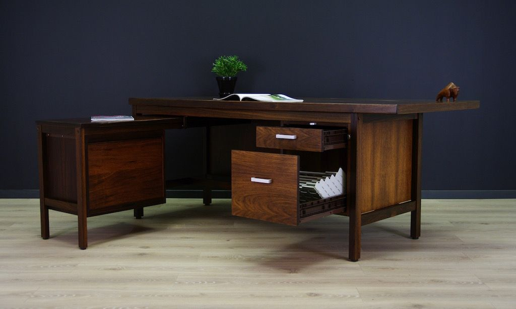 d nisches palisander schreibtisch set 1980er bei pamono kaufen. Black Bedroom Furniture Sets. Home Design Ideas