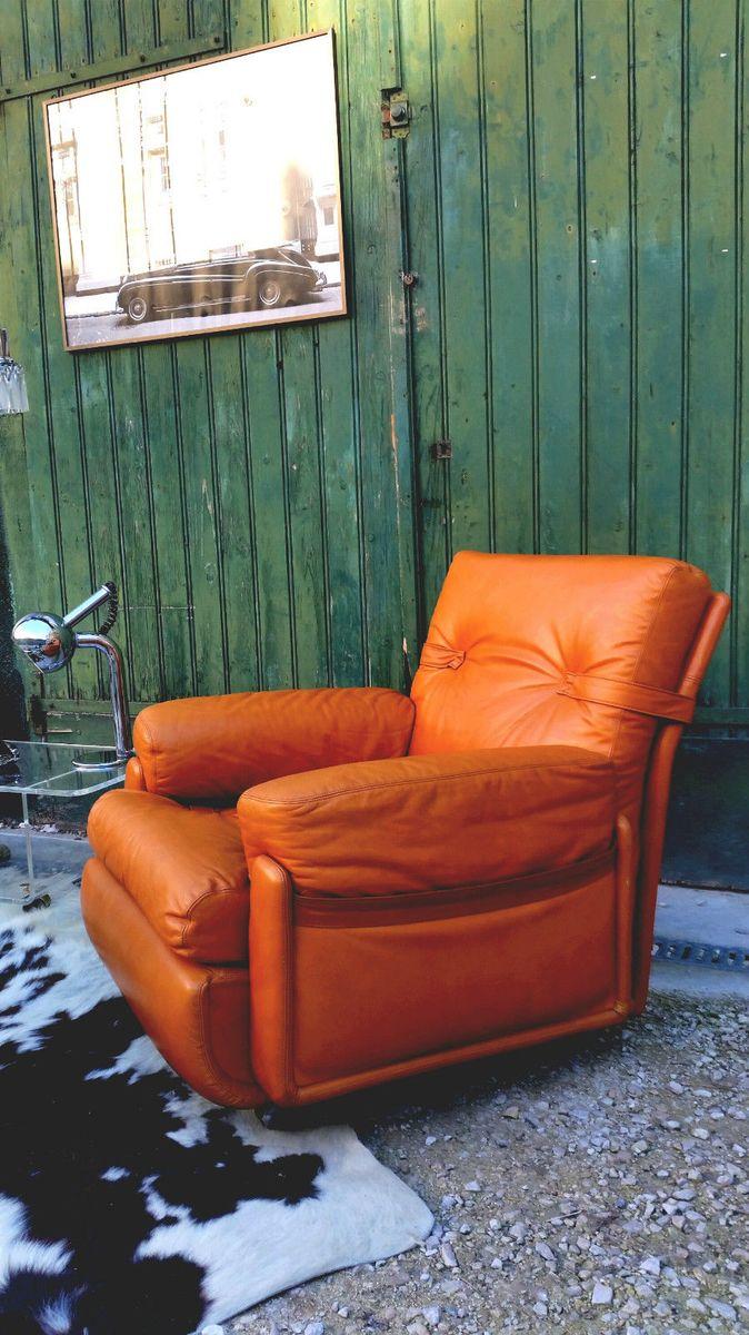 fauteuil tan en cuir de roche bobois 1970s en vente sur pamono. Black Bedroom Furniture Sets. Home Design Ideas