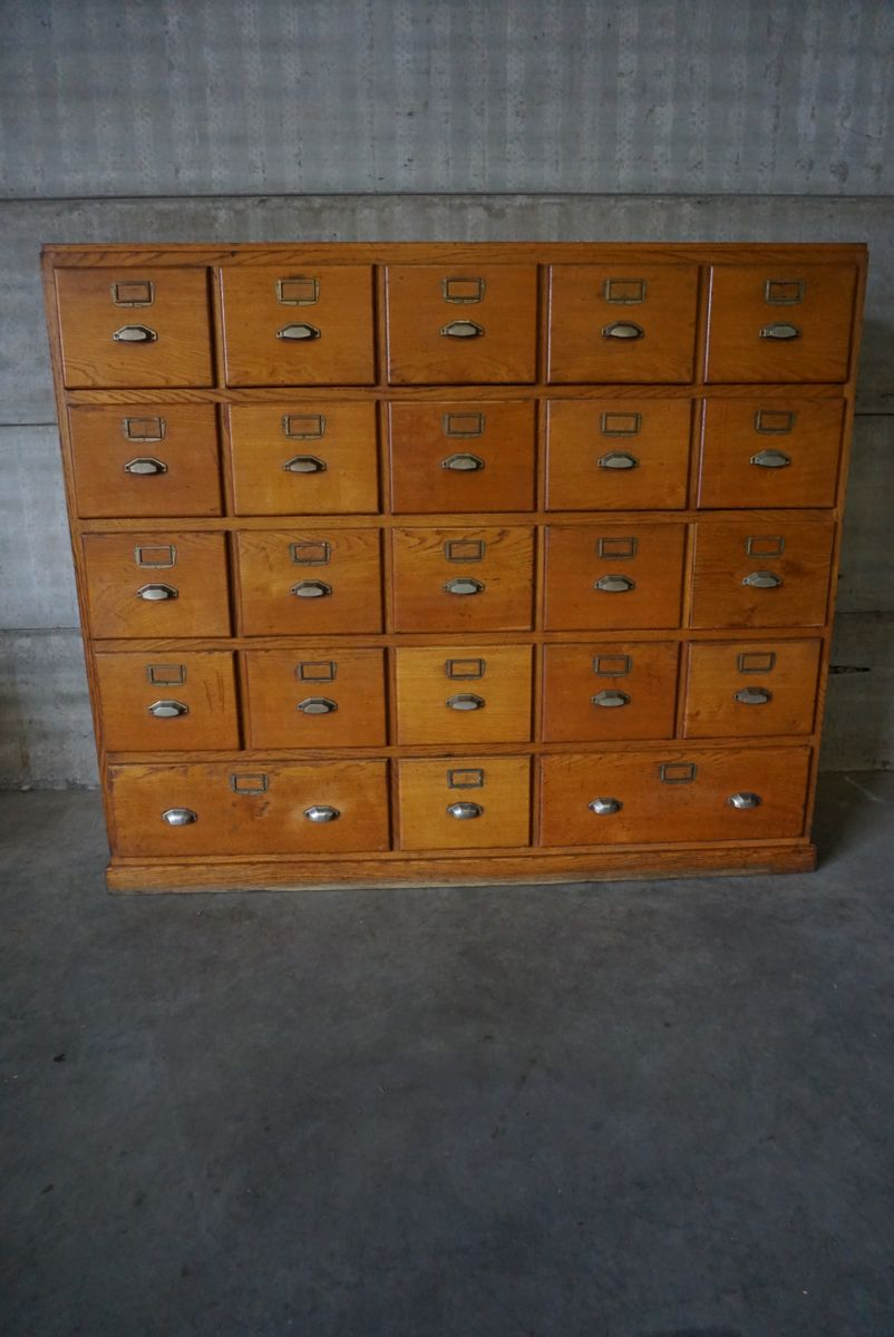 Vintage French Oak Apothecary Cabinet With Brass Hardware S - Apothecary cabinet