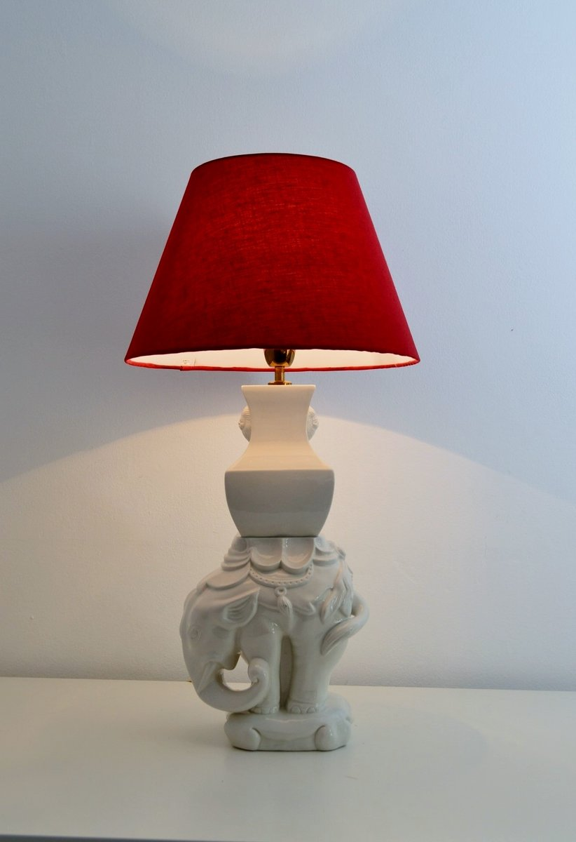 Elephant table lamp - Italian Ceramic And Brass Elephant Table Lamp 1970s
