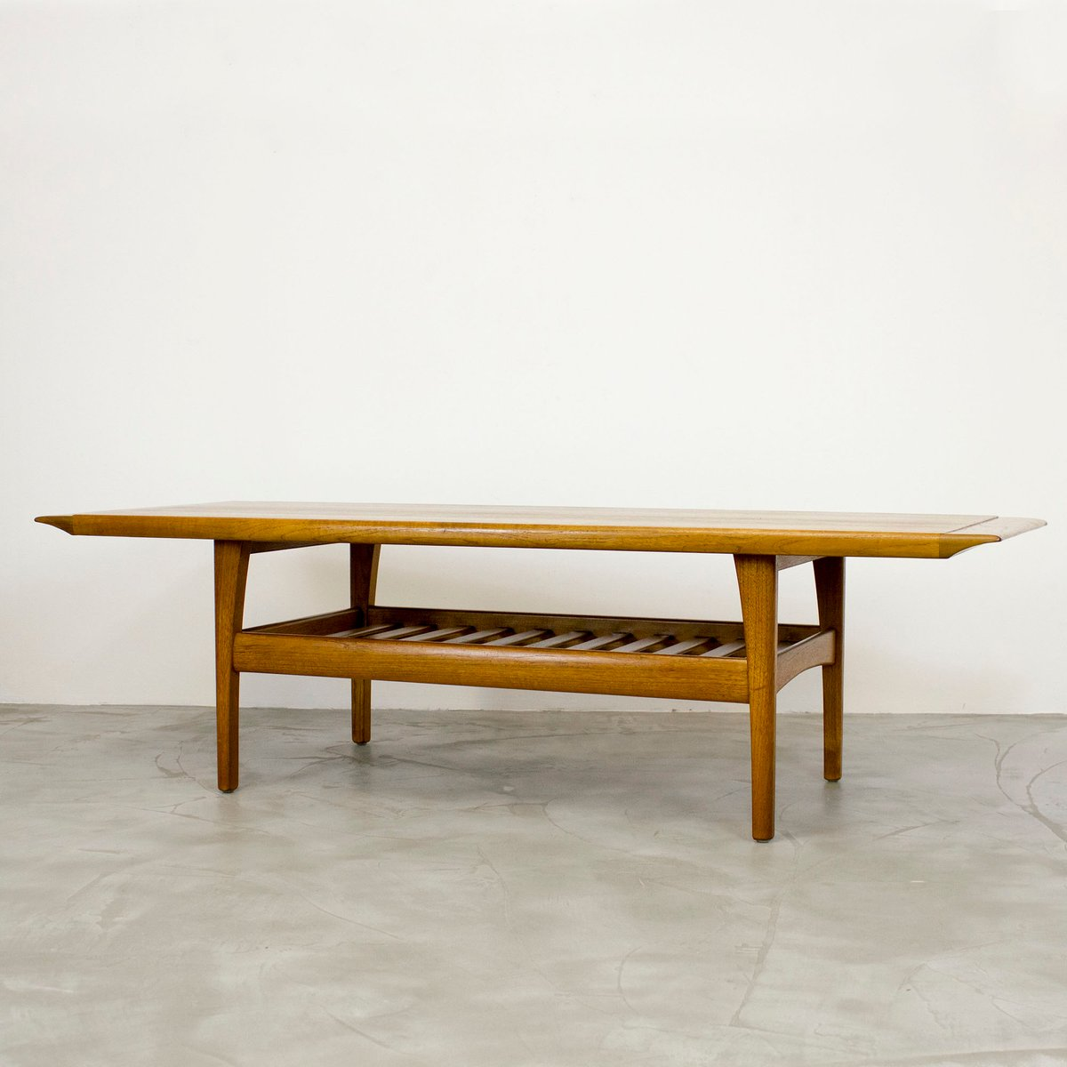 Danish Teak Coffee Table With Magazine Shelf, 1960s For Sale At Pamono