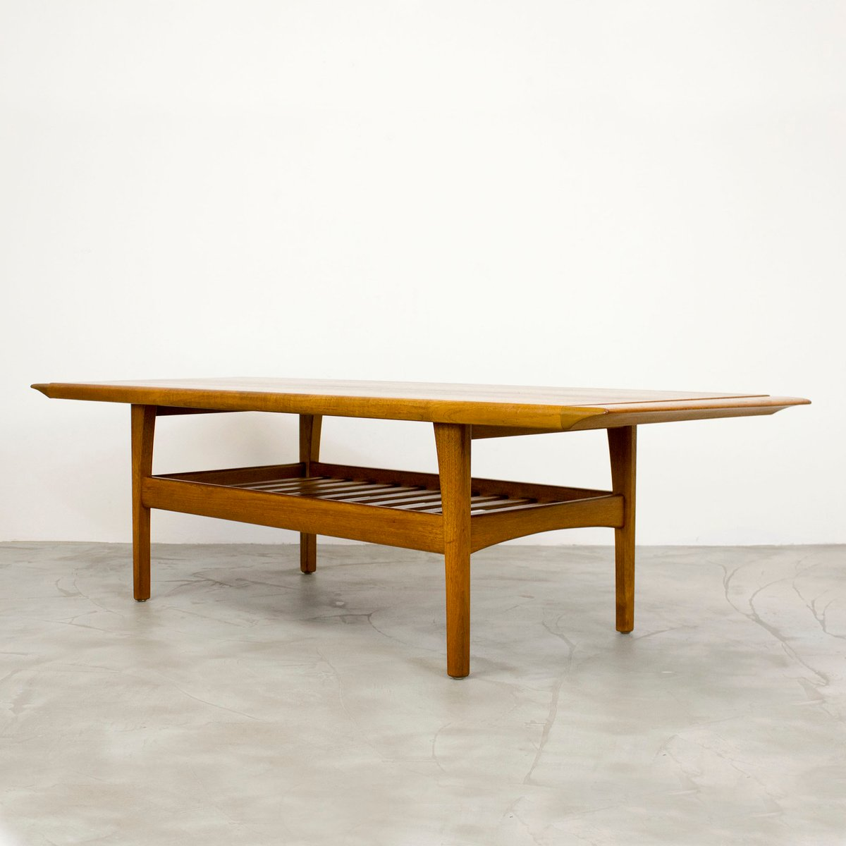 Danish Teak Coffee Table With Magazine Shelf 1960s For Sale At Pamono