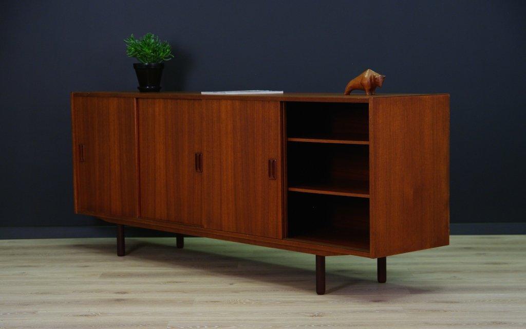 d nisches mid century teak sideboard mit schiebet ren 1960er bei pamono kaufen. Black Bedroom Furniture Sets. Home Design Ideas