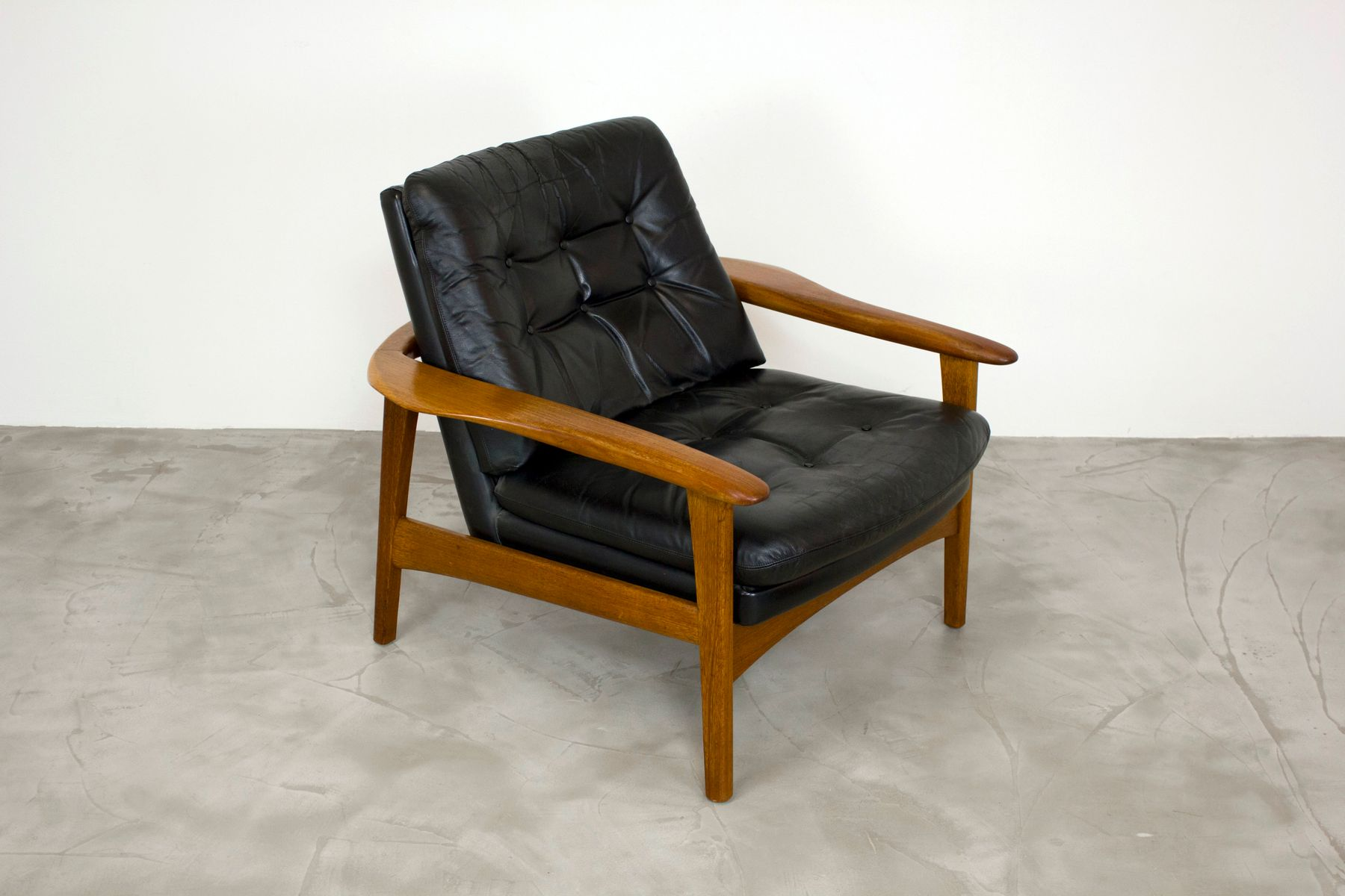 Scandinavian teak leather lounge chair 1960s for sale at pamono - Scandinavian chair ...