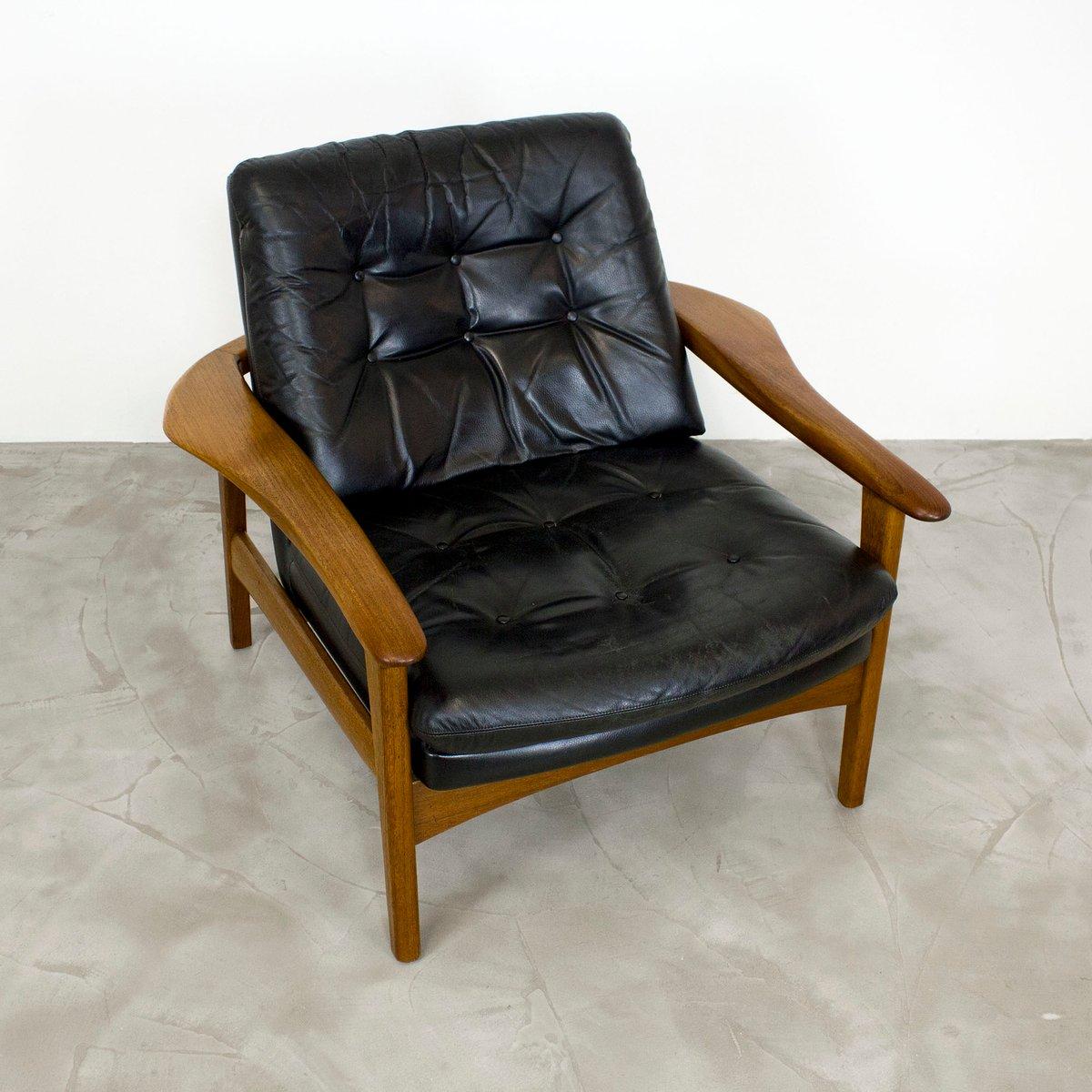 teak u0026 leather lounge chair 1960s - Leather Lounge Chair