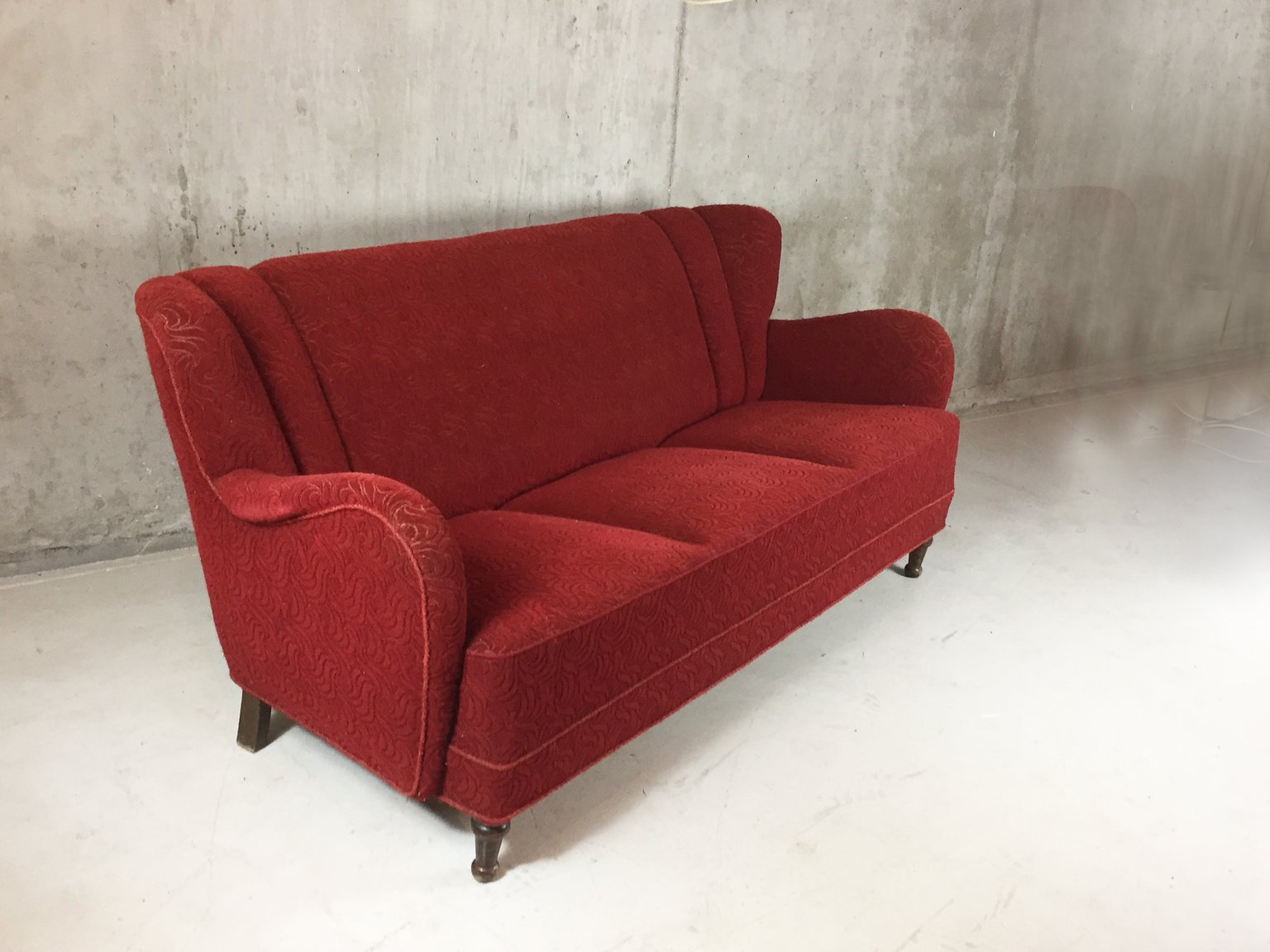 Danish Three Seater Sofa With Red Patterned Upholstery 1950s For Sale At Pamono