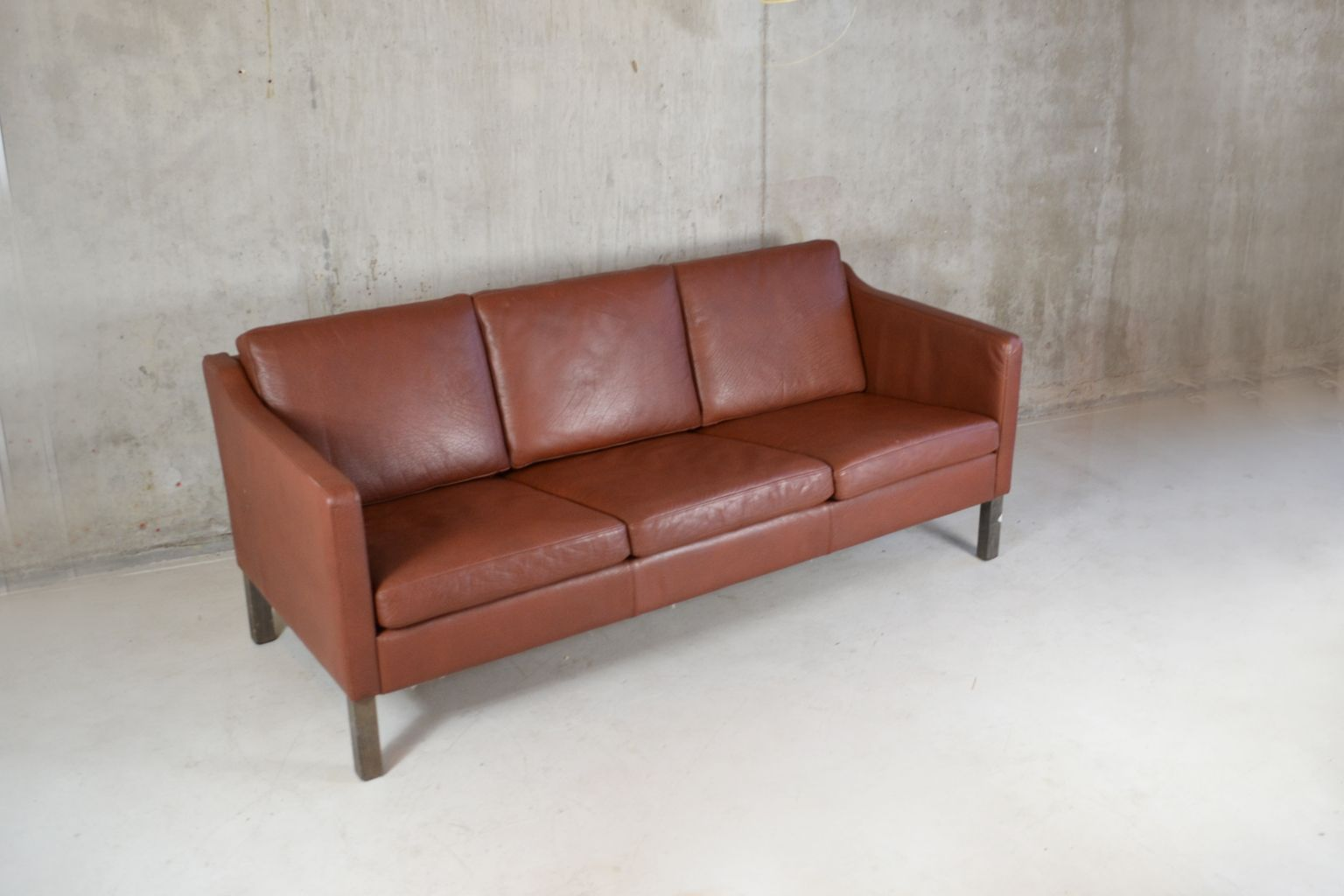 Danish three seater brown leather sofa from polster for Sofa polster