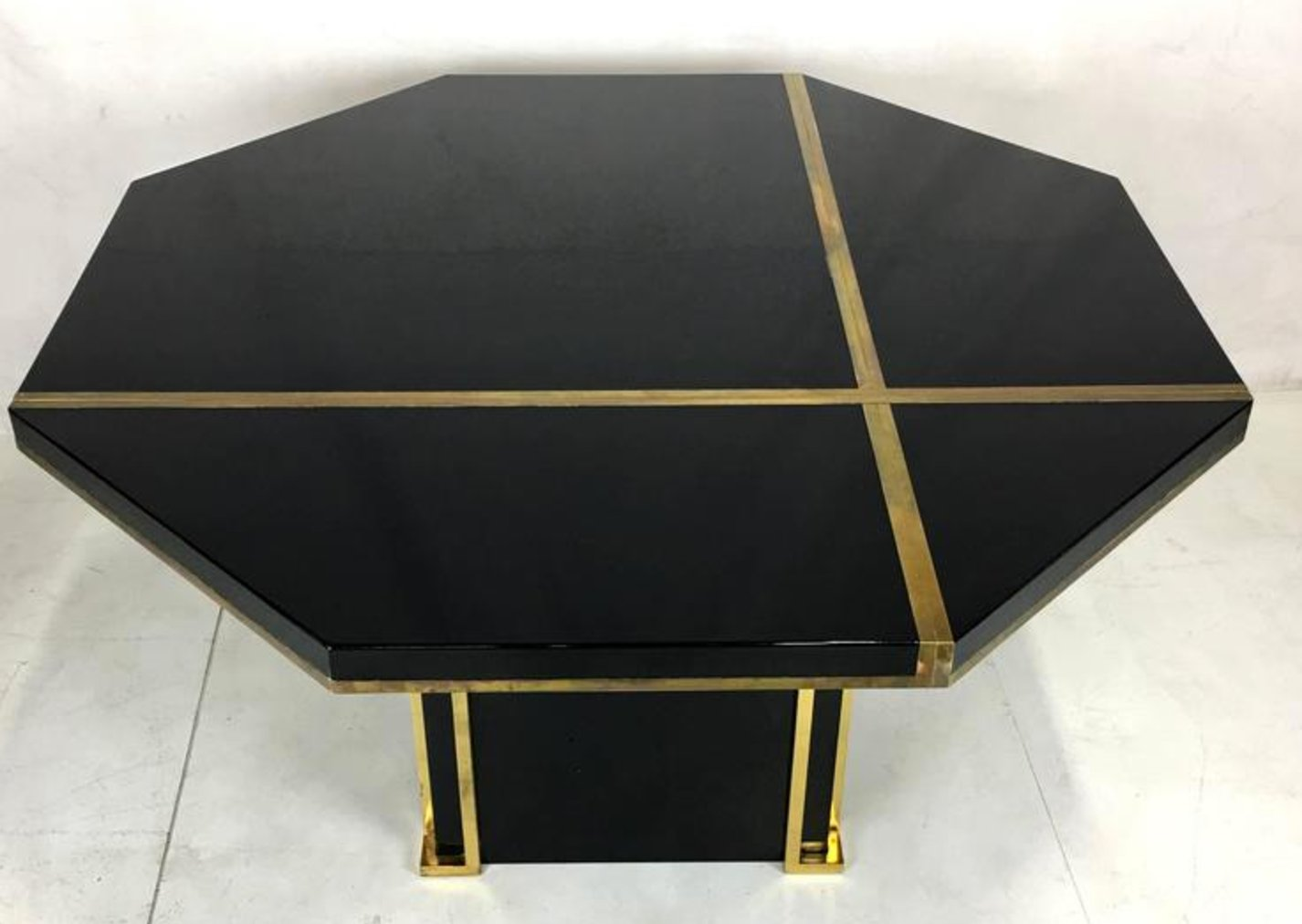 Lacquered Brass Dining Table By JC Mahey For Roche Bobois