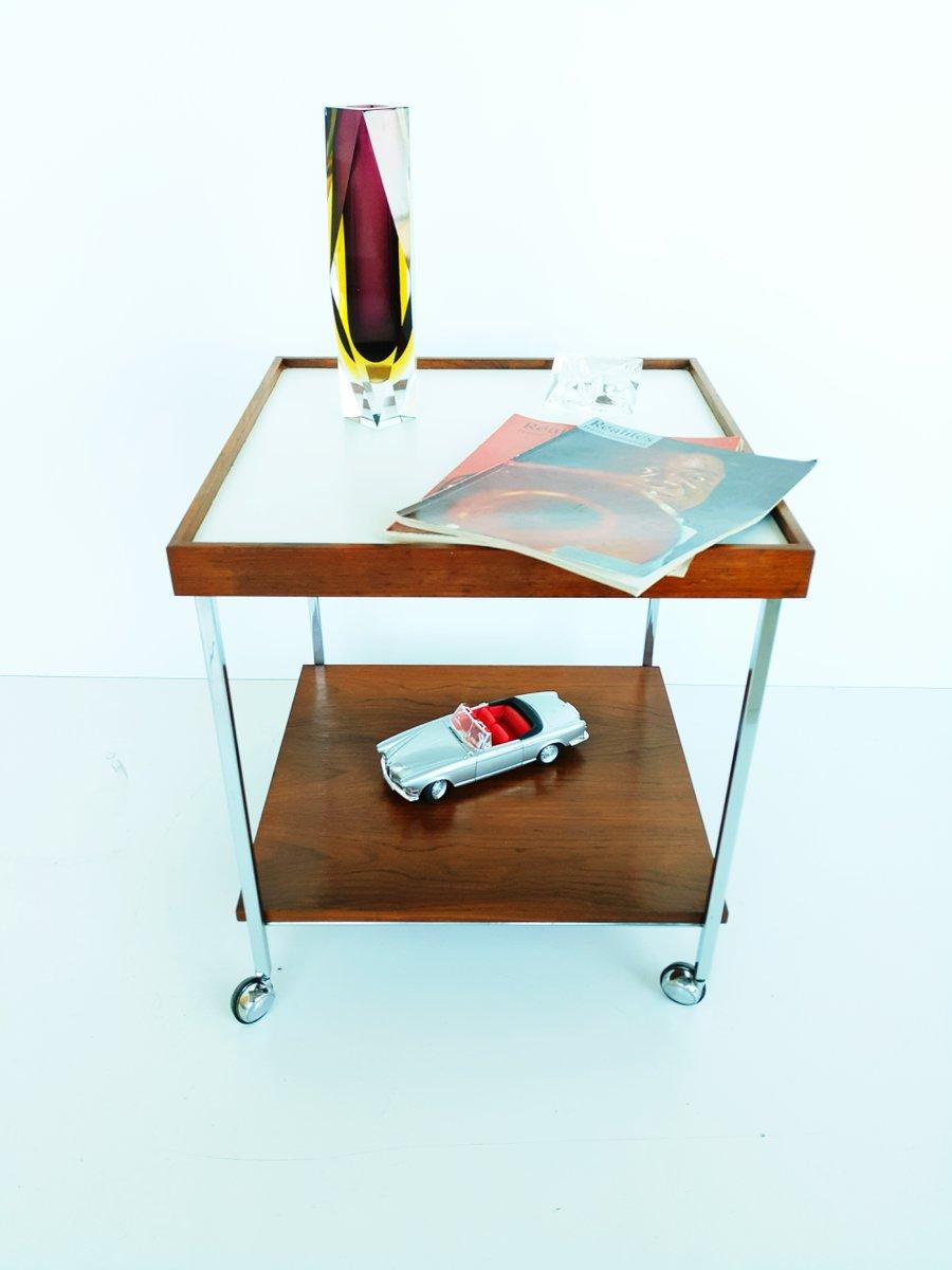 teak beistelltisch auf rollen 1970er bei pamono kaufen. Black Bedroom Furniture Sets. Home Design Ideas