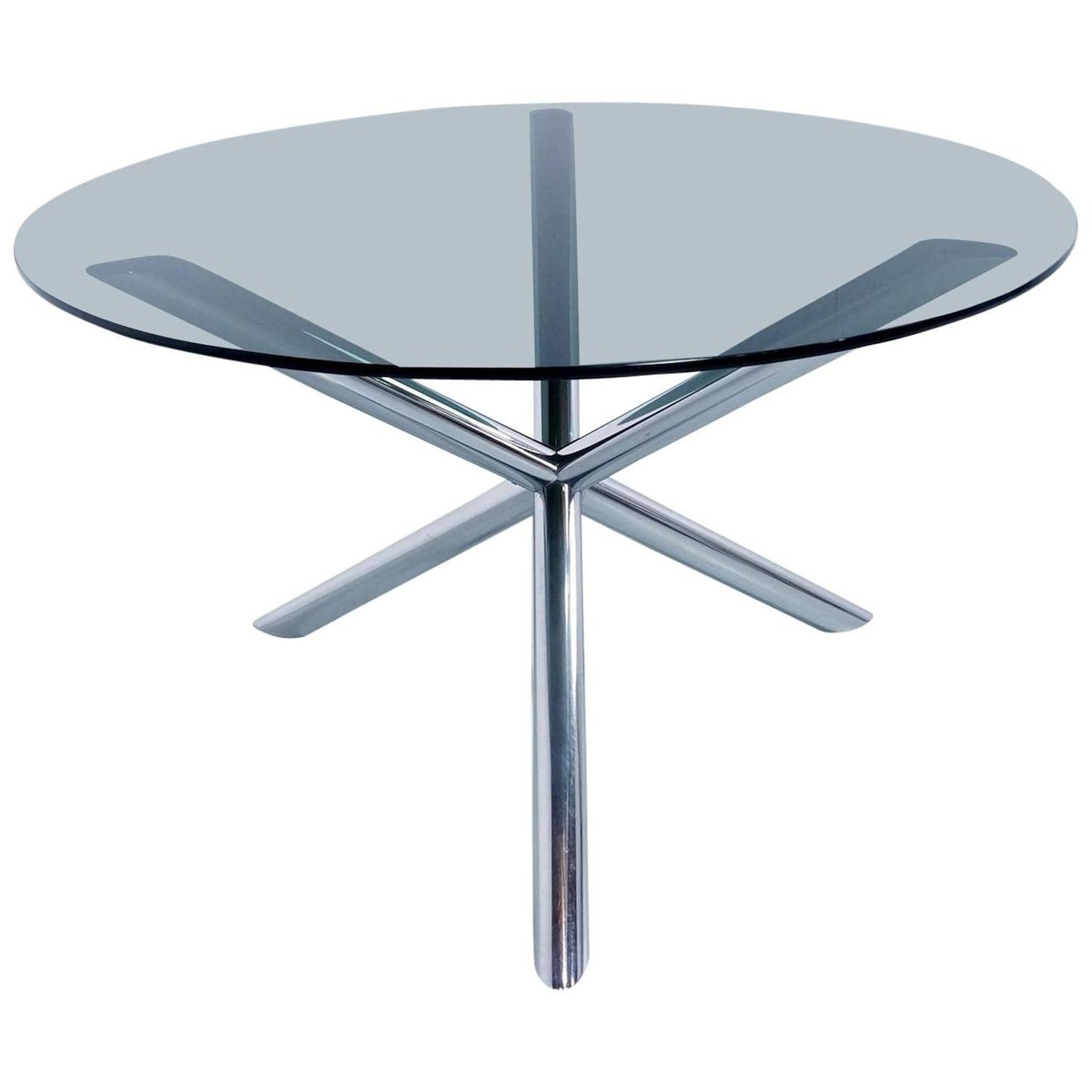 Dining Table in Chrome and Smoked Glass by Roche Bobois 1970s for