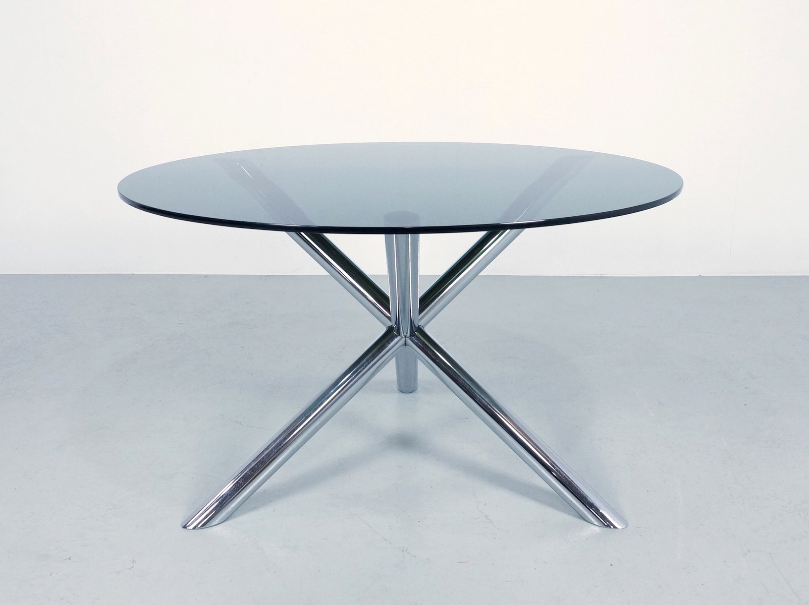 Dining table in chrome and smoked glass by roche bobois 1970s for sale at pa - Table verre roche bobois ...