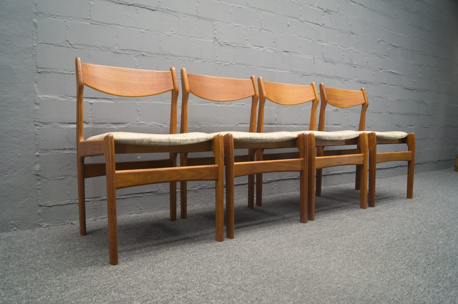 Mid Century Danish Teak Dining Chairs, Set Of 4