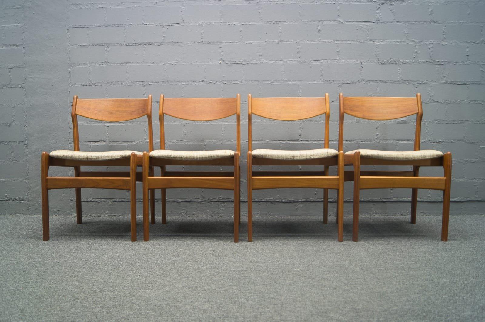 set of four swedish midcentury modern teak dining chairs 2