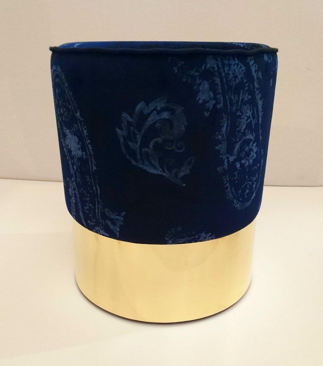 vintage printed velvet pouf for sale at pamono. Black Bedroom Furniture Sets. Home Design Ideas