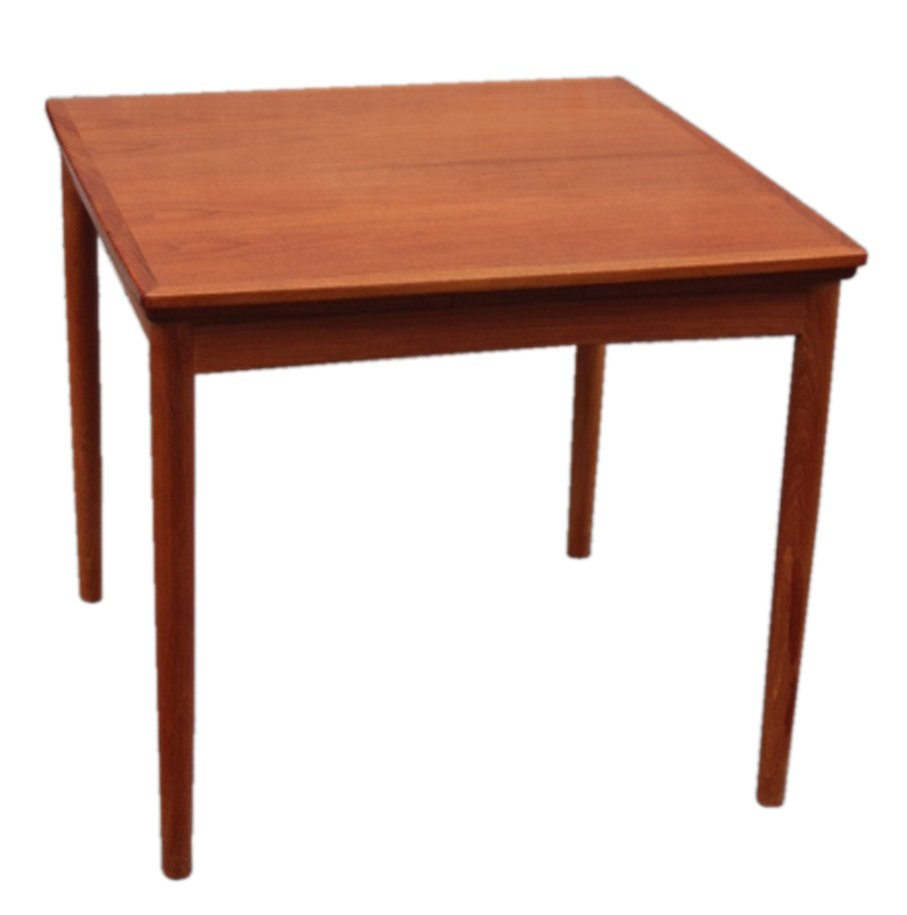 Danish extendable teak dining table by poul hundevad for for Table scandinave 6 personnes