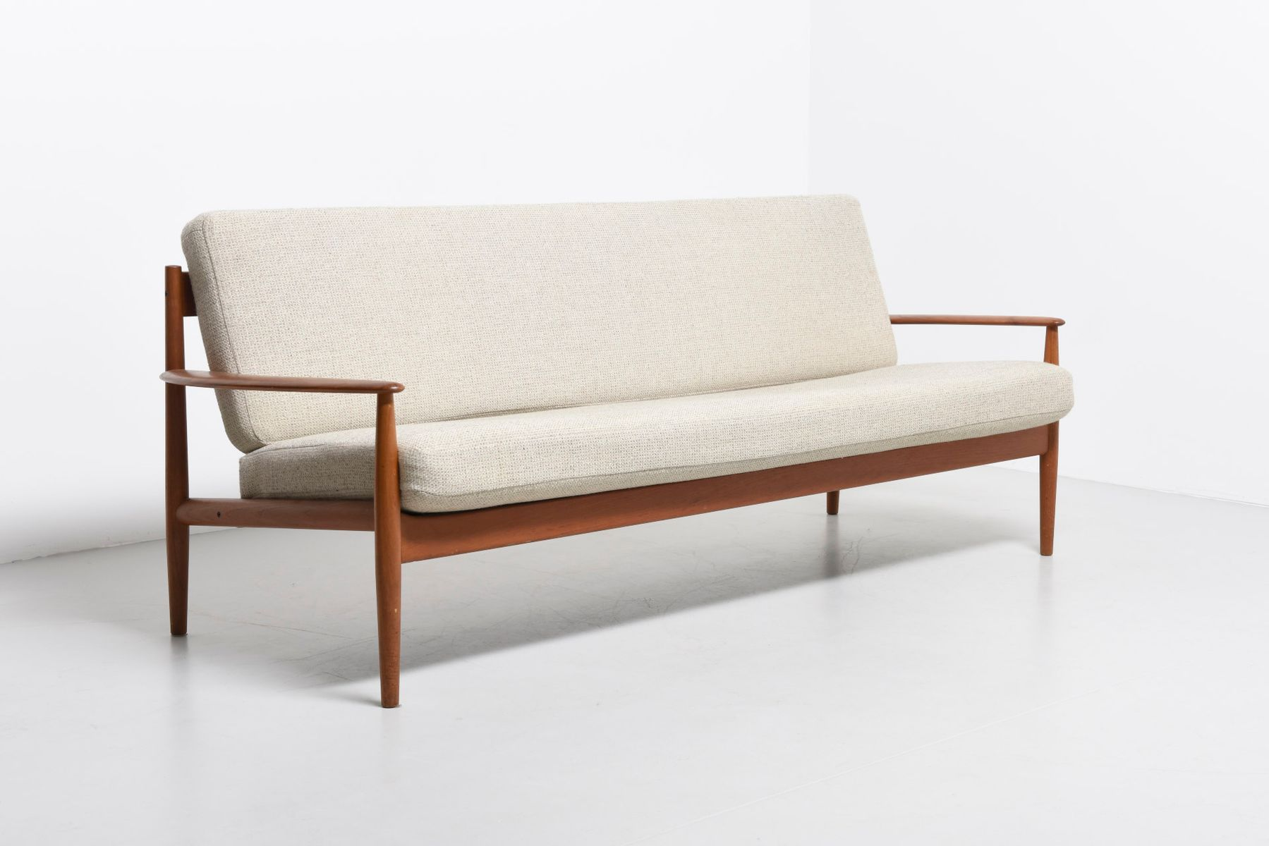 danish modern 3 seater sofa with a teak frame by grete jalk