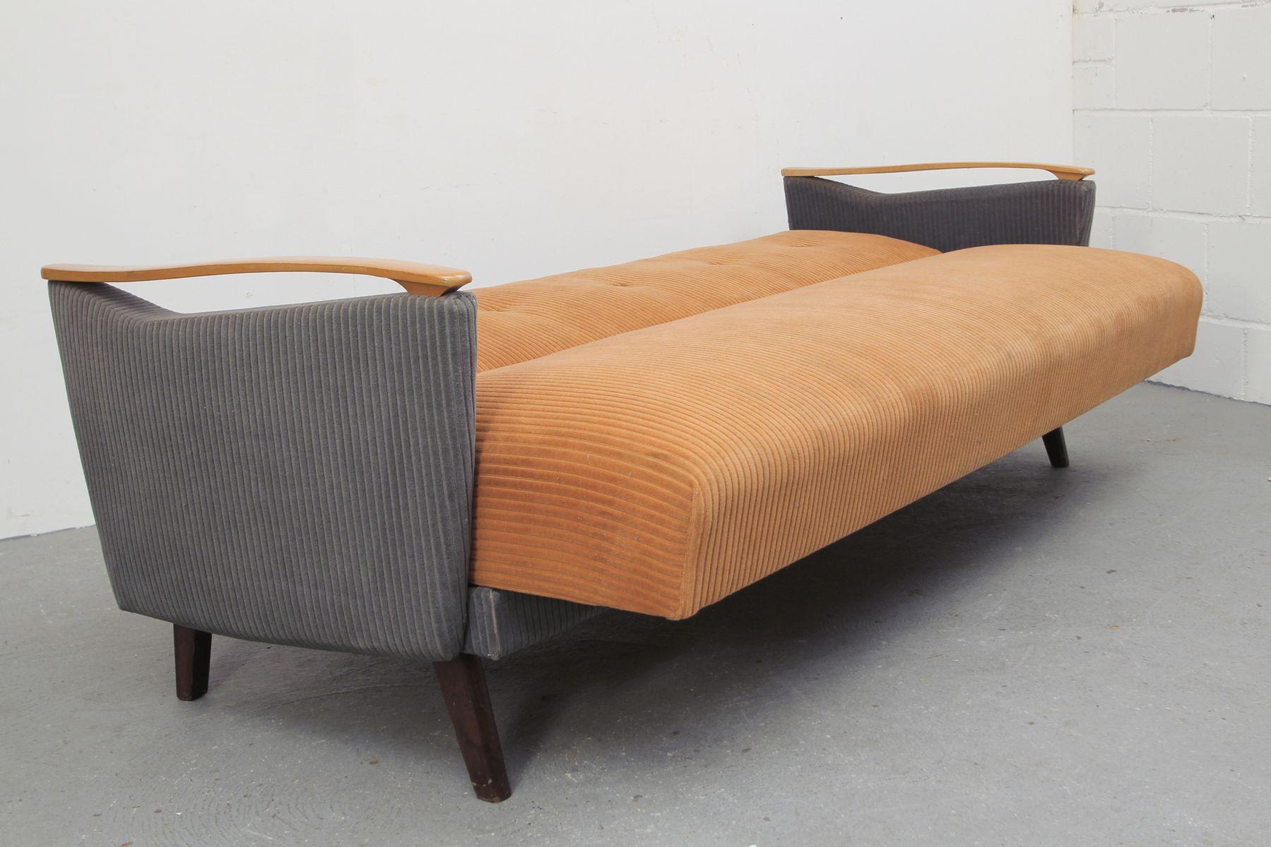 Divan bicolor abricot et gris bleu 1950s en vente sur pamono for Divan 1950
