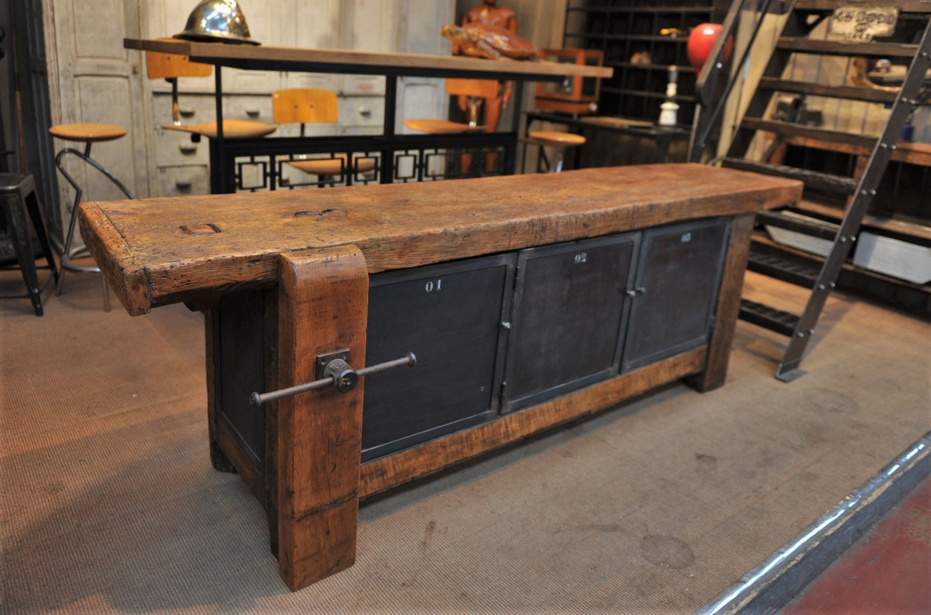 Former Carpenter s Metal and Wood Workbench 1930s for