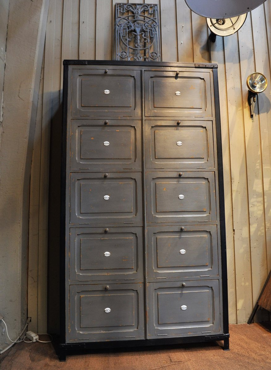 Numbered Wood and Metal Cabinet, 1920s for sale at Pamono