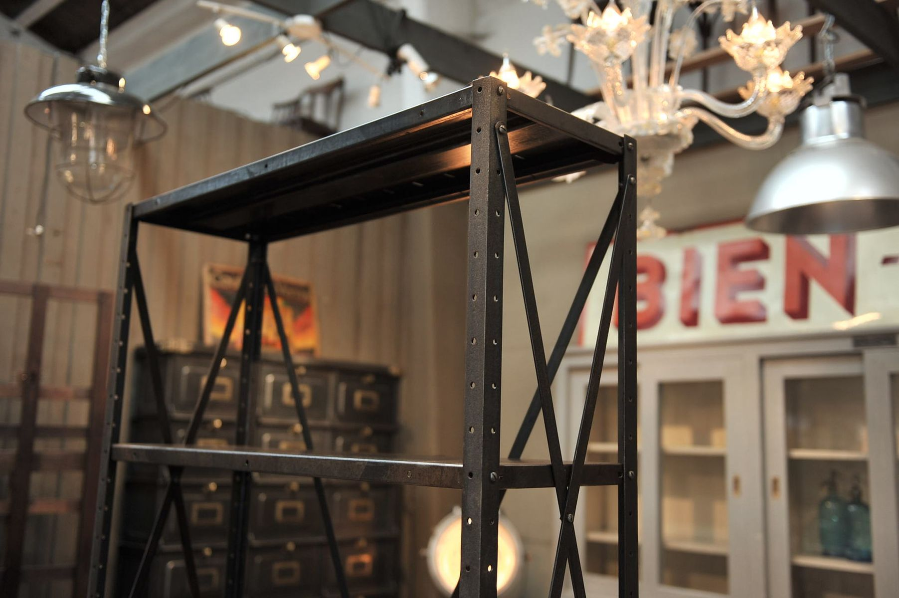 industrial metal shelving unit 1930s 8 price per piece