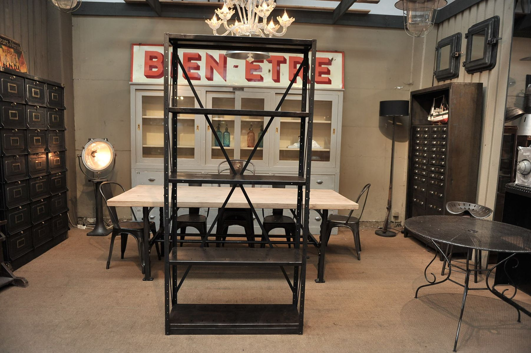 industrial metal shelving unit 1930s