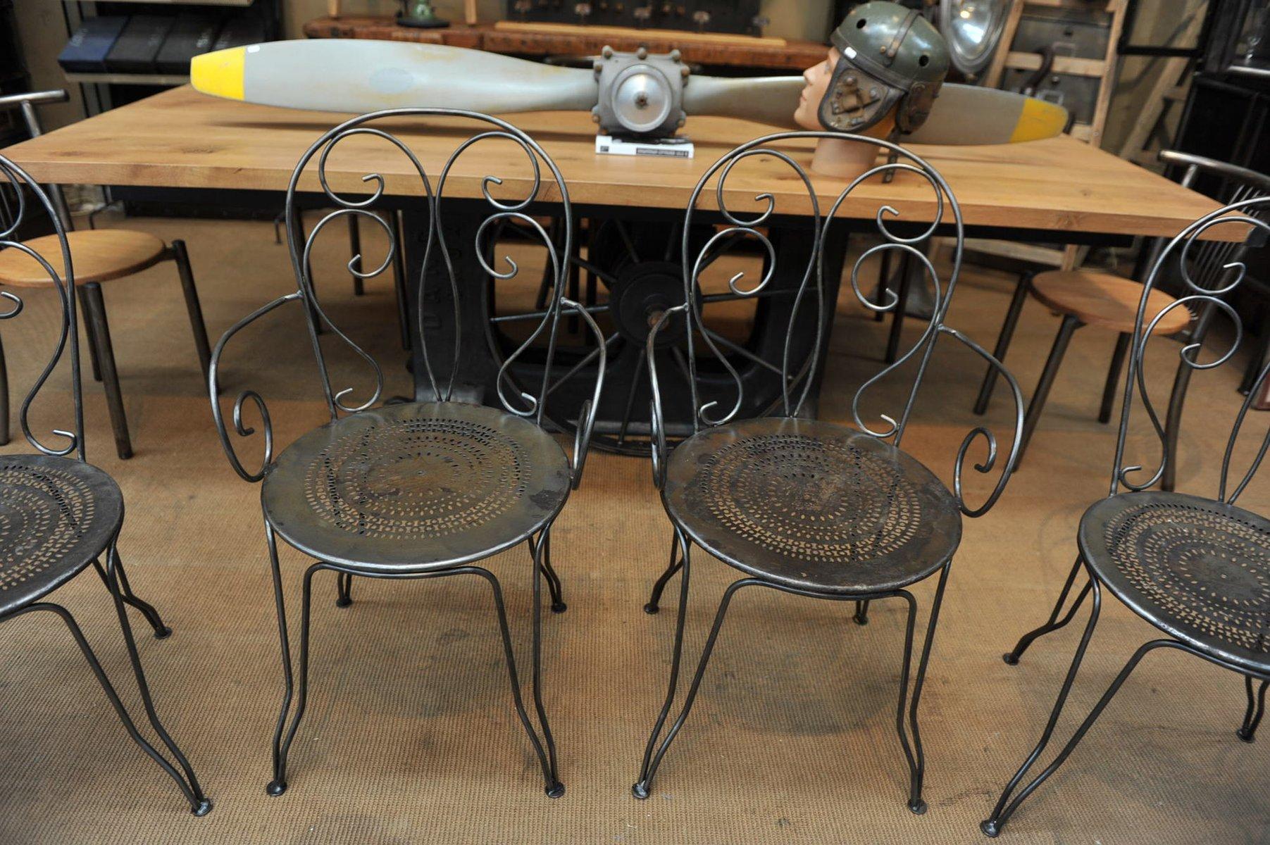 metall gartenst hle teils mit armlehne 1970er 4er set. Black Bedroom Furniture Sets. Home Design Ideas