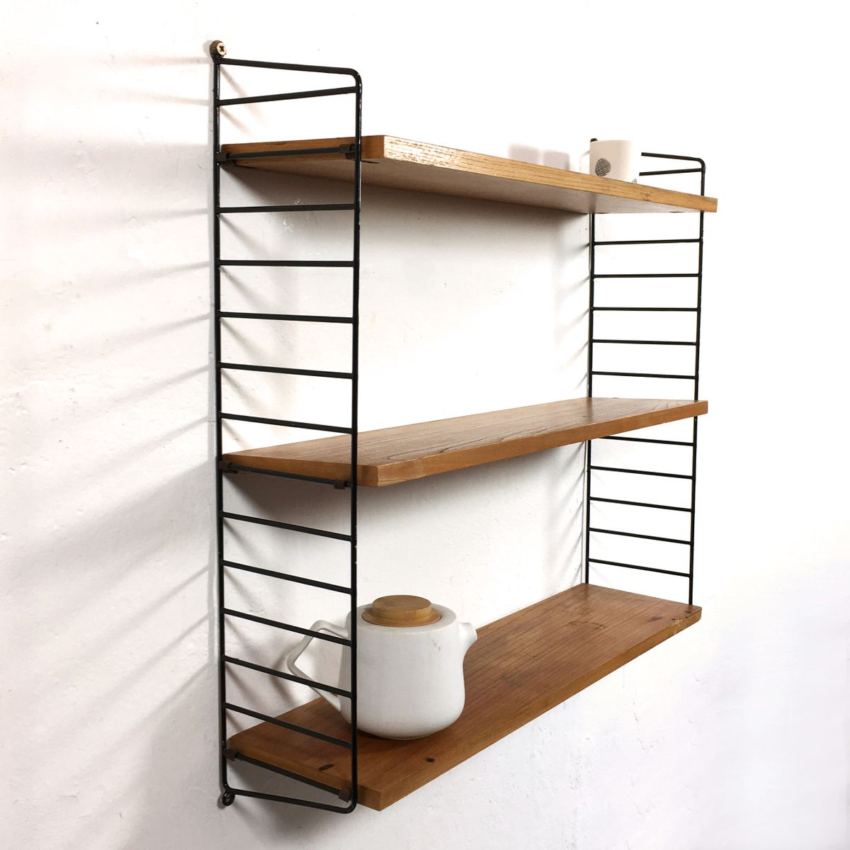 vintage swedish modular wall unit with three shelves by nisse strinning for string for sale at. Black Bedroom Furniture Sets. Home Design Ideas