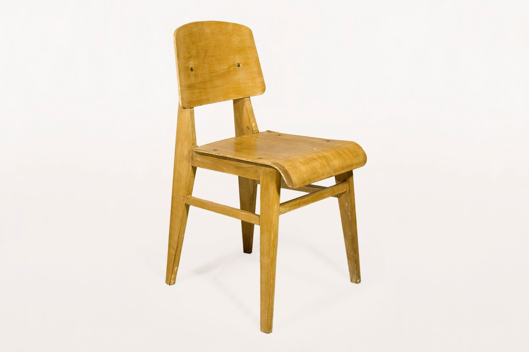 French wooden standard chair by jean prouv 1940s for for Chaise jean prouve