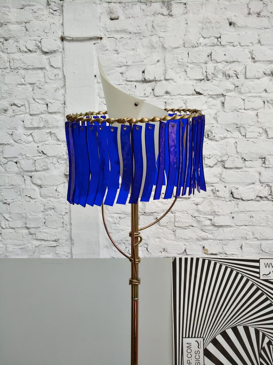 PRIAMO Bronze & Blue Glass Floor Lamp by Toni Cordero for Artemide ...