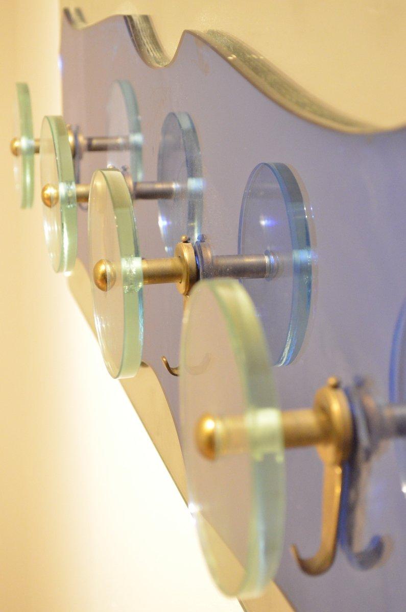 italienische mid century garderobe aus messing glas spiegel von fontana arte bei pamono kaufen. Black Bedroom Furniture Sets. Home Design Ideas