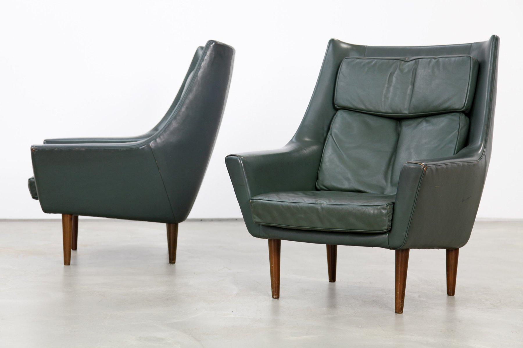 Vintage Danish Dark Green Leather Lounge Chairs, Set Of 2