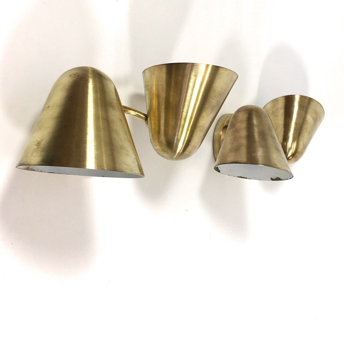Wall Mounted Brass Lamps : French Brass Wall Mounted Lamps, 1950s, Set of 2 for sale at Pamono