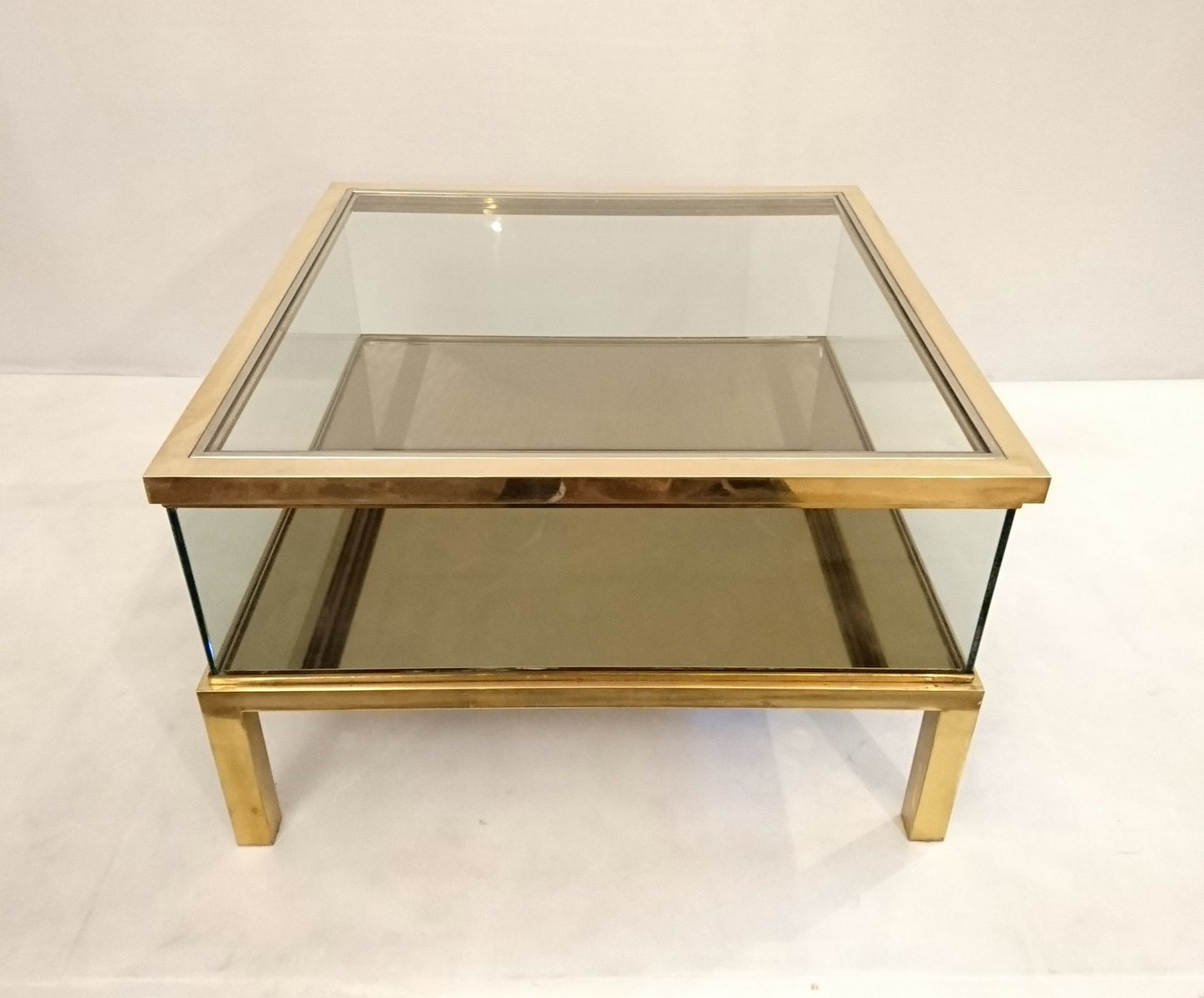 Vintage Italian Brass Sliding Top Coffee Table 3. previous - Vintage Italian Brass Sliding Top Coffee Table For Sale At Pamono