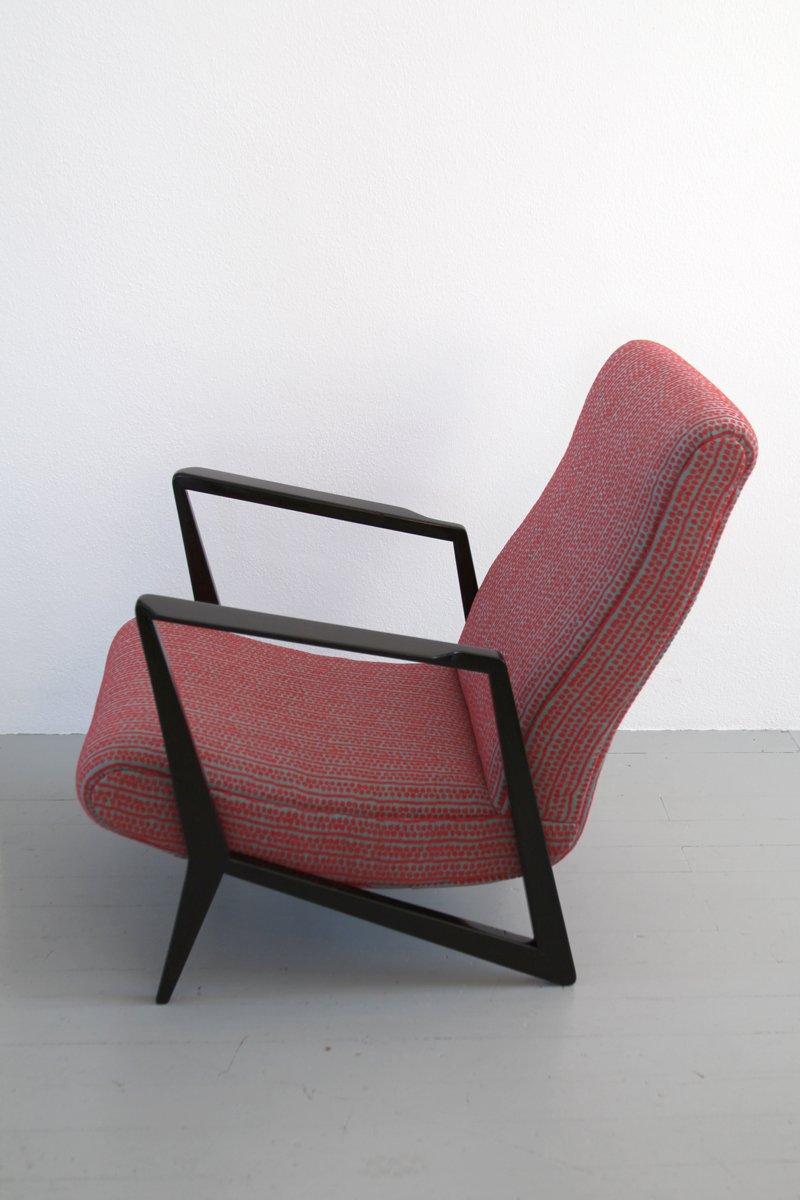 italienischer mid century sessel aus buche stoff bei. Black Bedroom Furniture Sets. Home Design Ideas