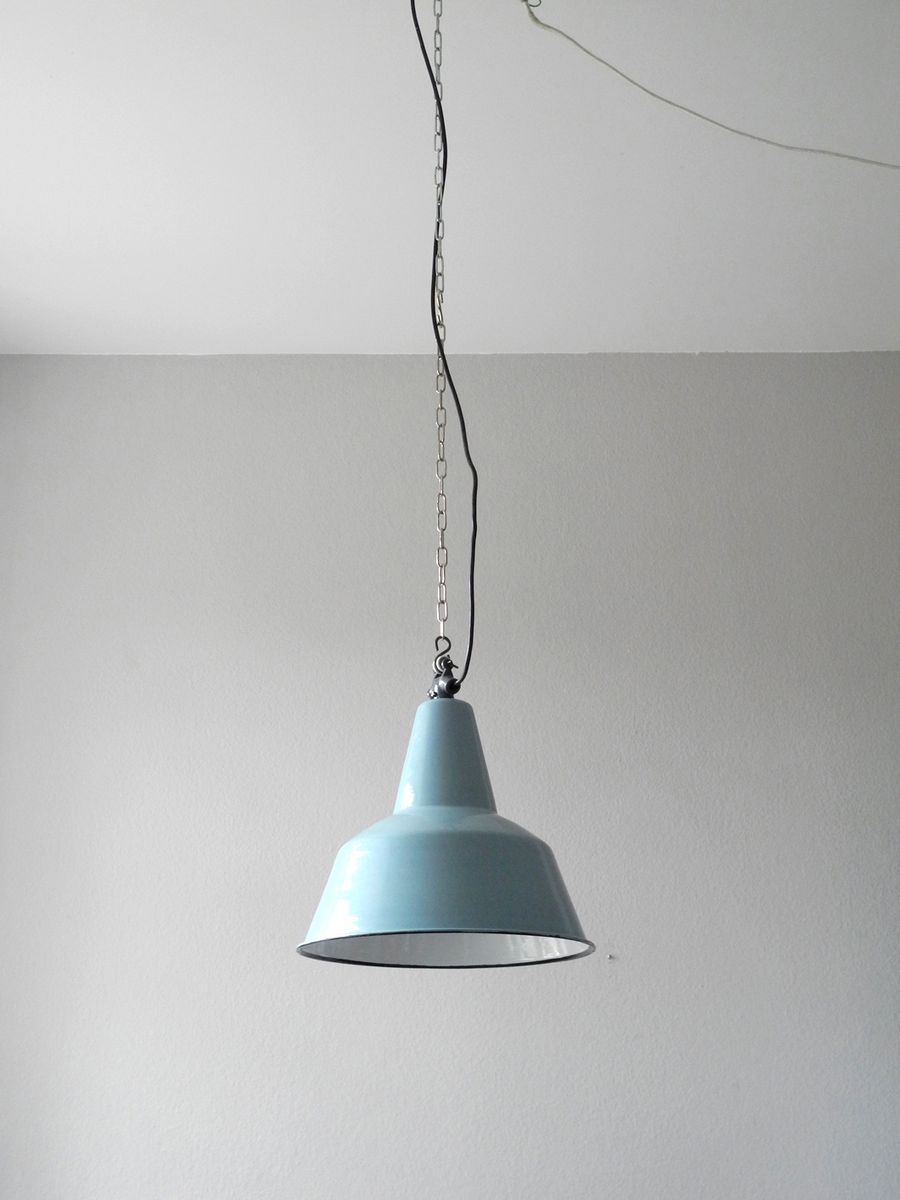 Mid century enameled industrial factory ceiling lamp for for Mid century ceiling lamp