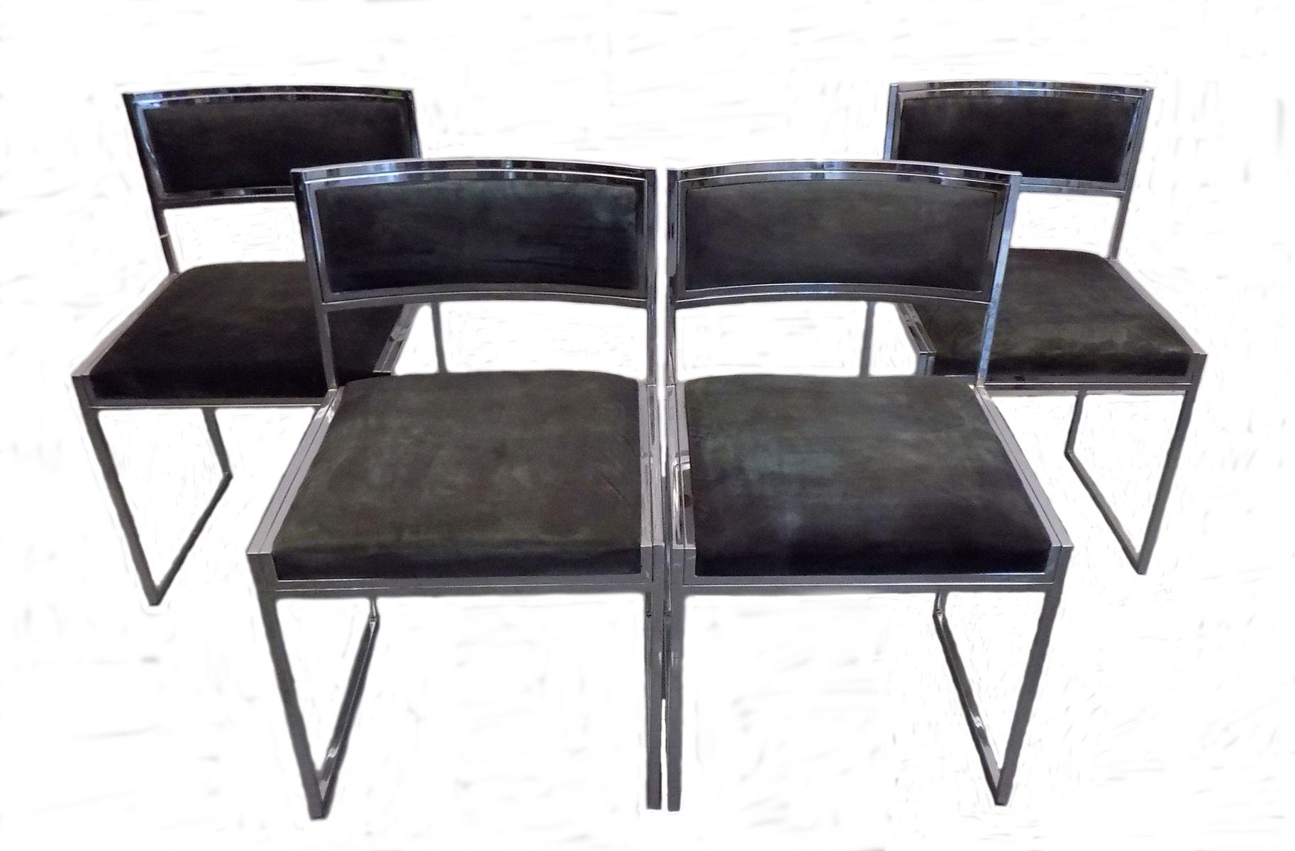 st hle aus verchromtem stahl von willy rizzo 1970er 4er set bei pamono kaufen. Black Bedroom Furniture Sets. Home Design Ideas